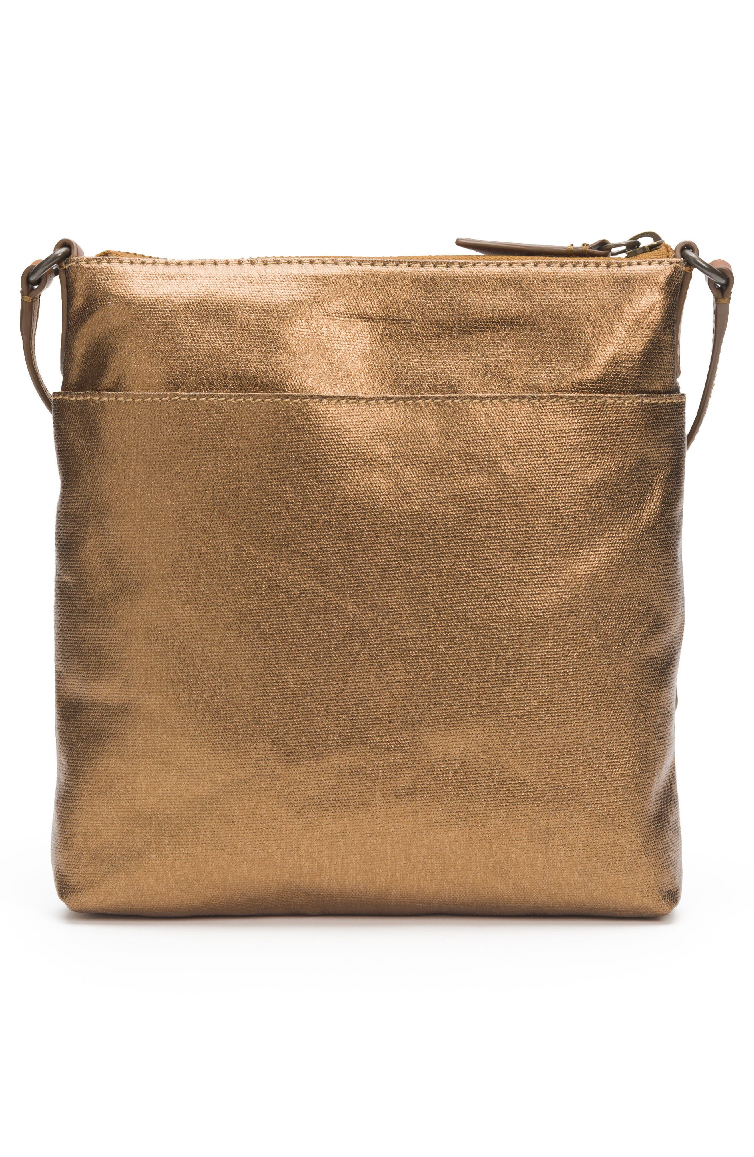 Ivy Metallic Nylon Crossbody Bag,                             Alternate thumbnail 3, color,                             Bronze