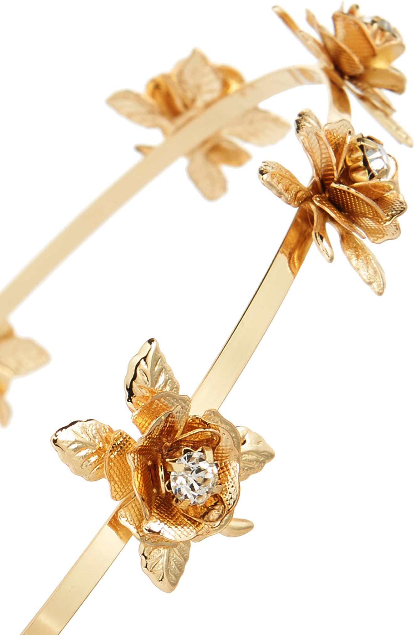 Crystal Flower Headband,                             Alternate thumbnail 2, color,                             Gold