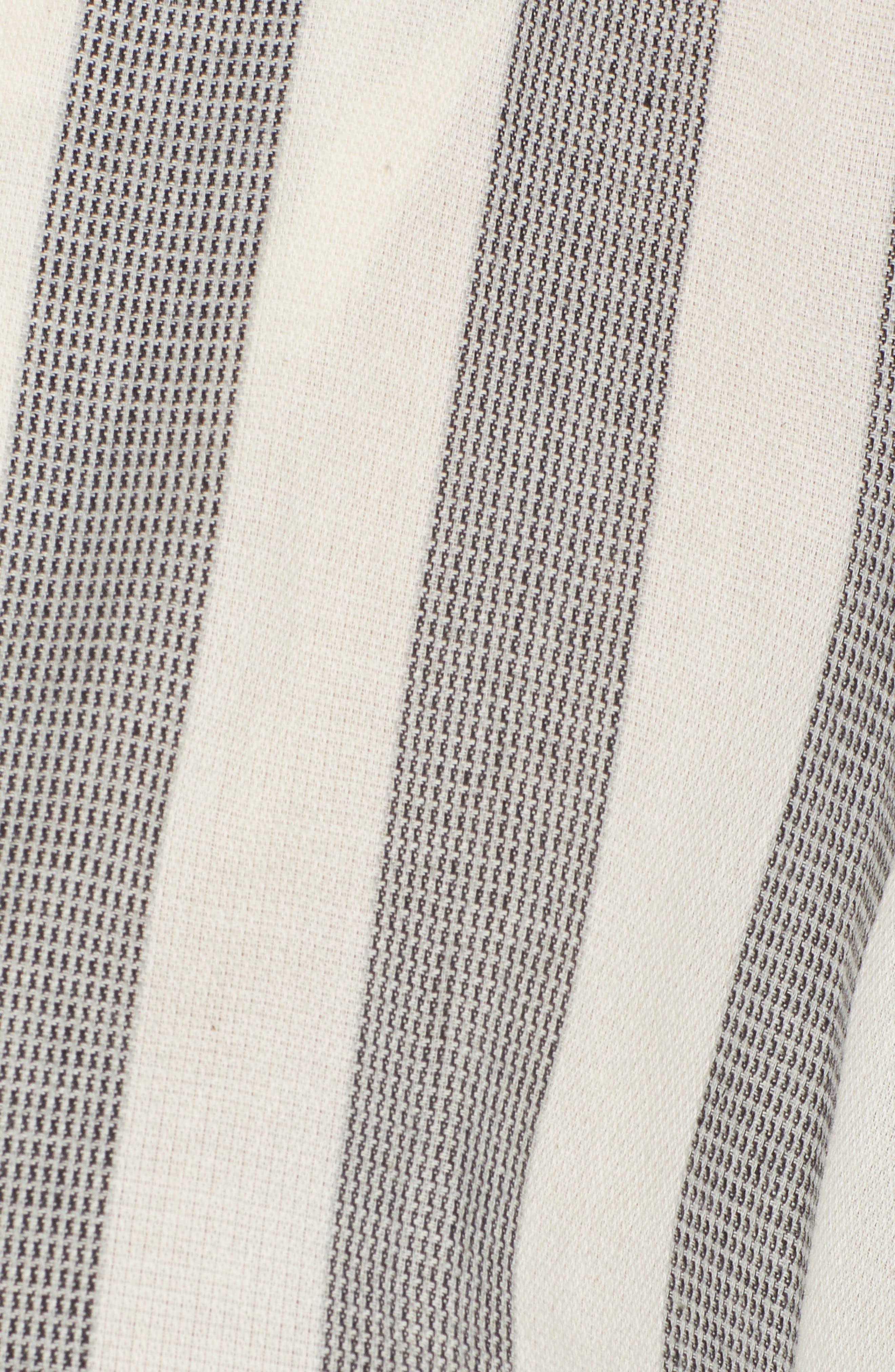Stripe Cotton Wrap Dress,                             Alternate thumbnail 7, color,                             Black Stripe