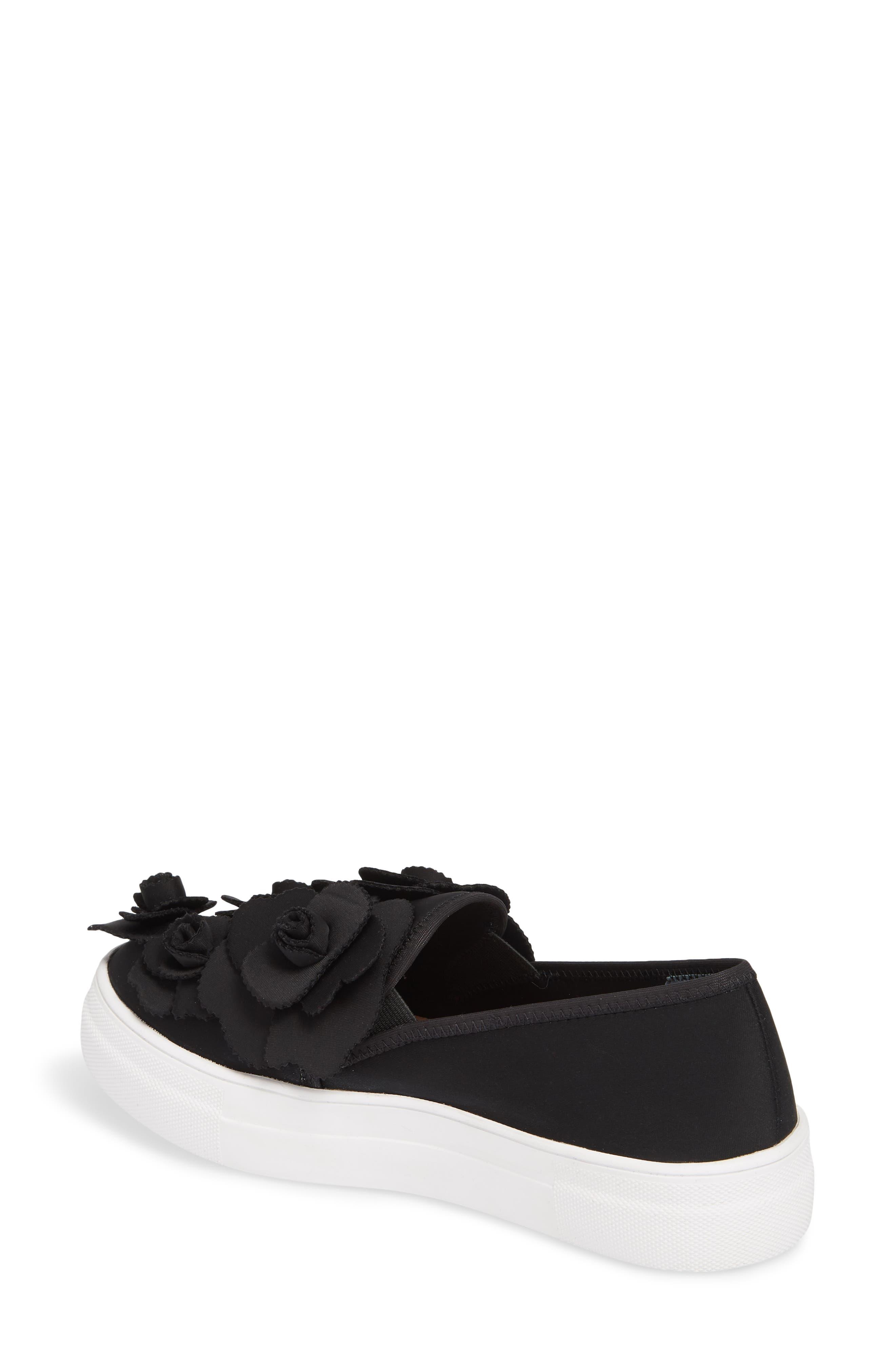 Alden Floral Embellished Slip-On Sneaker,                             Alternate thumbnail 2, color,                             Black Flower Neoprene