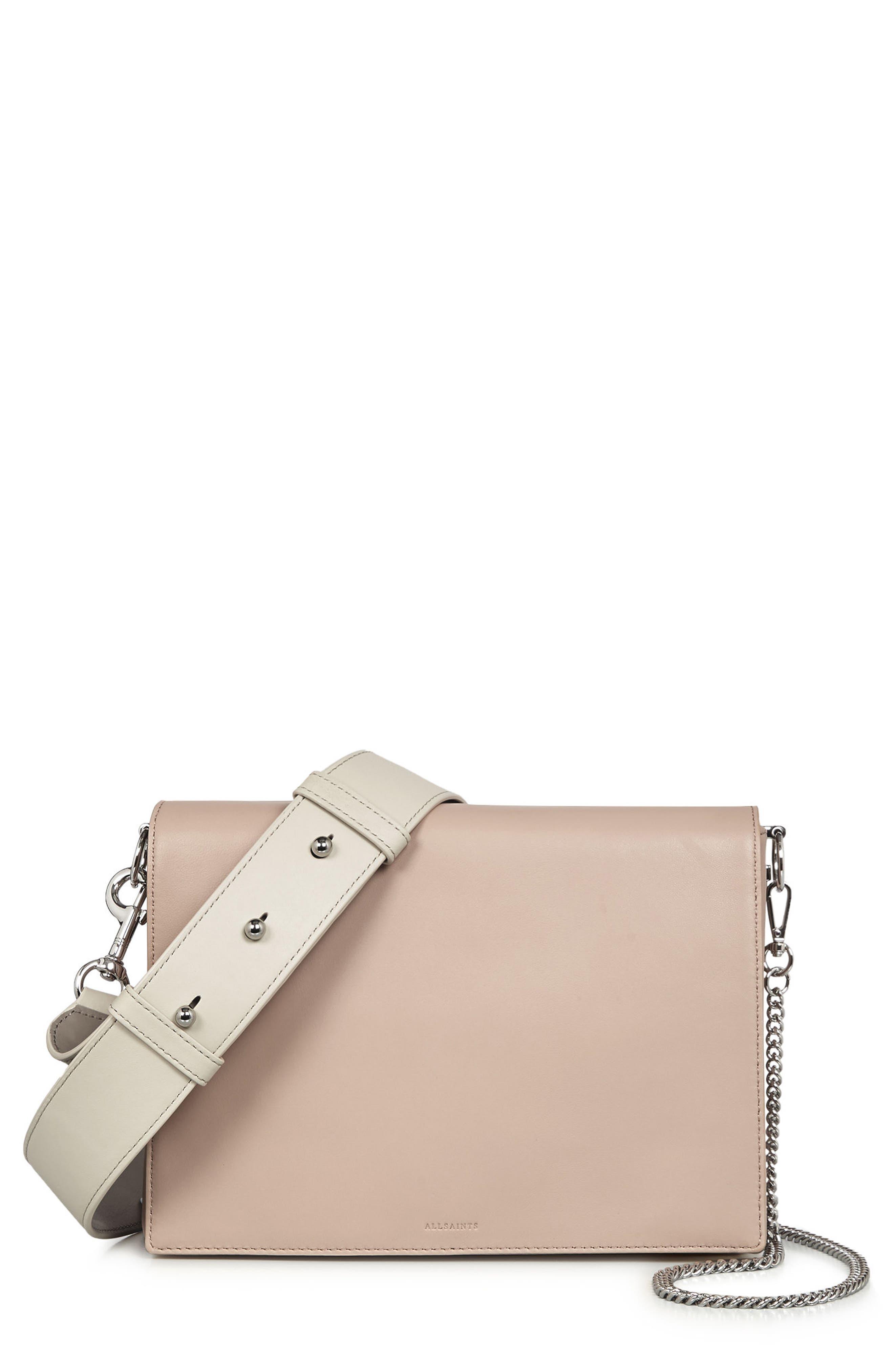 Zep Lambskin Leather Box Bag,                             Main thumbnail 1, color,                             Natural