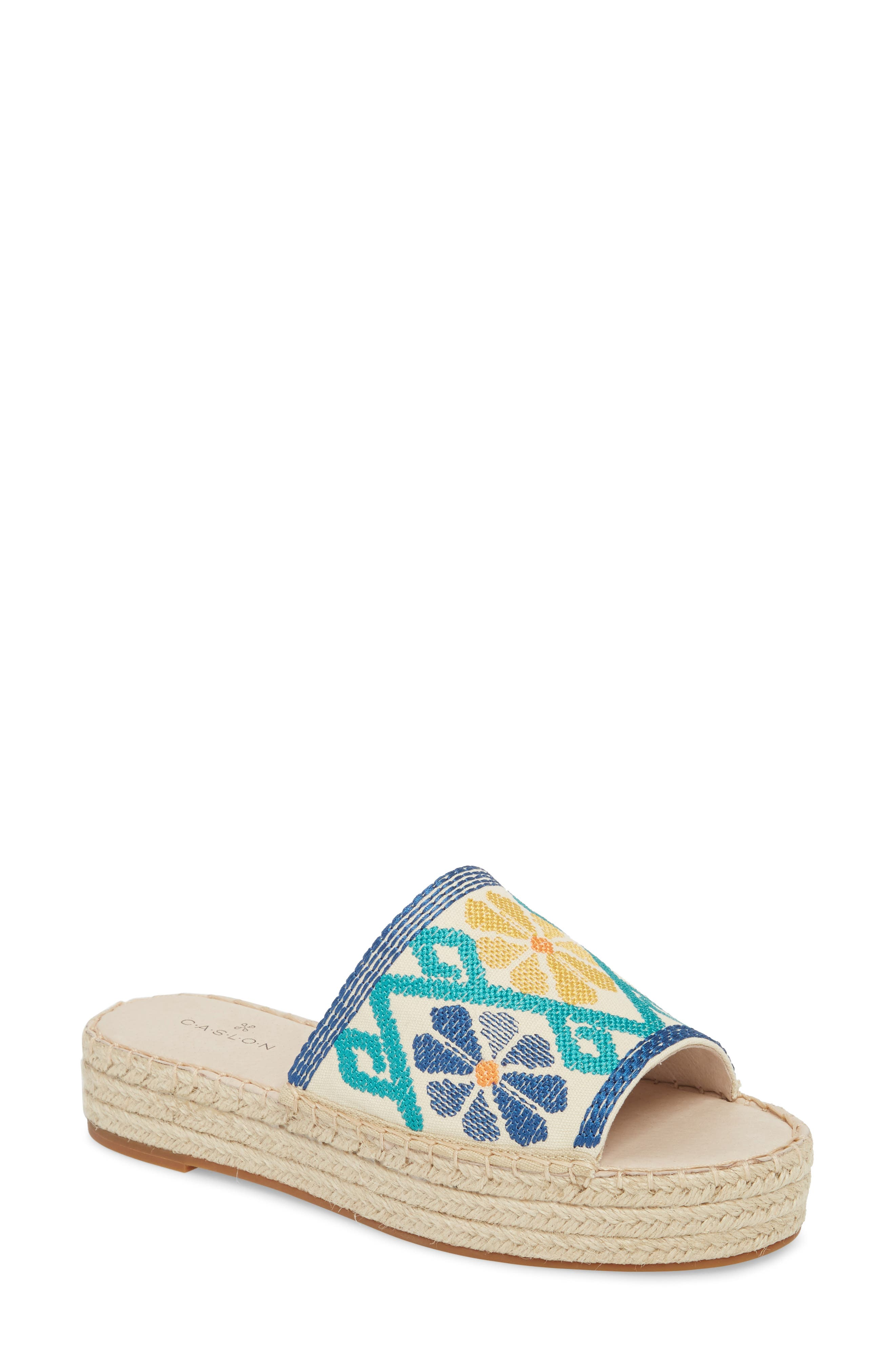 Cammy Platform Slide Sandal,                             Main thumbnail 1, color,                             Natural Embroidery Fabric