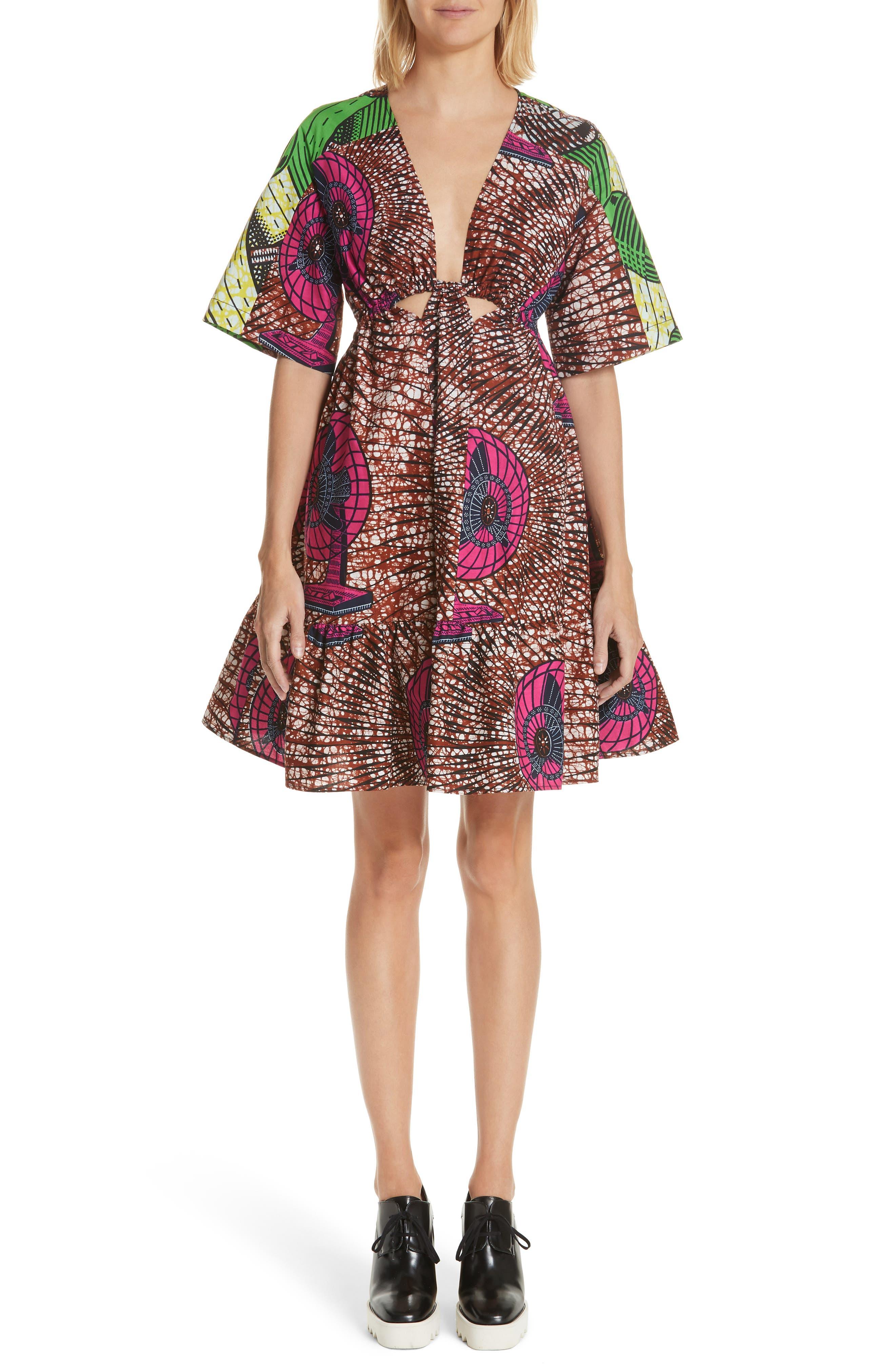 Print Cotton Dress,                         Main,                         color, Dutch Fan Print