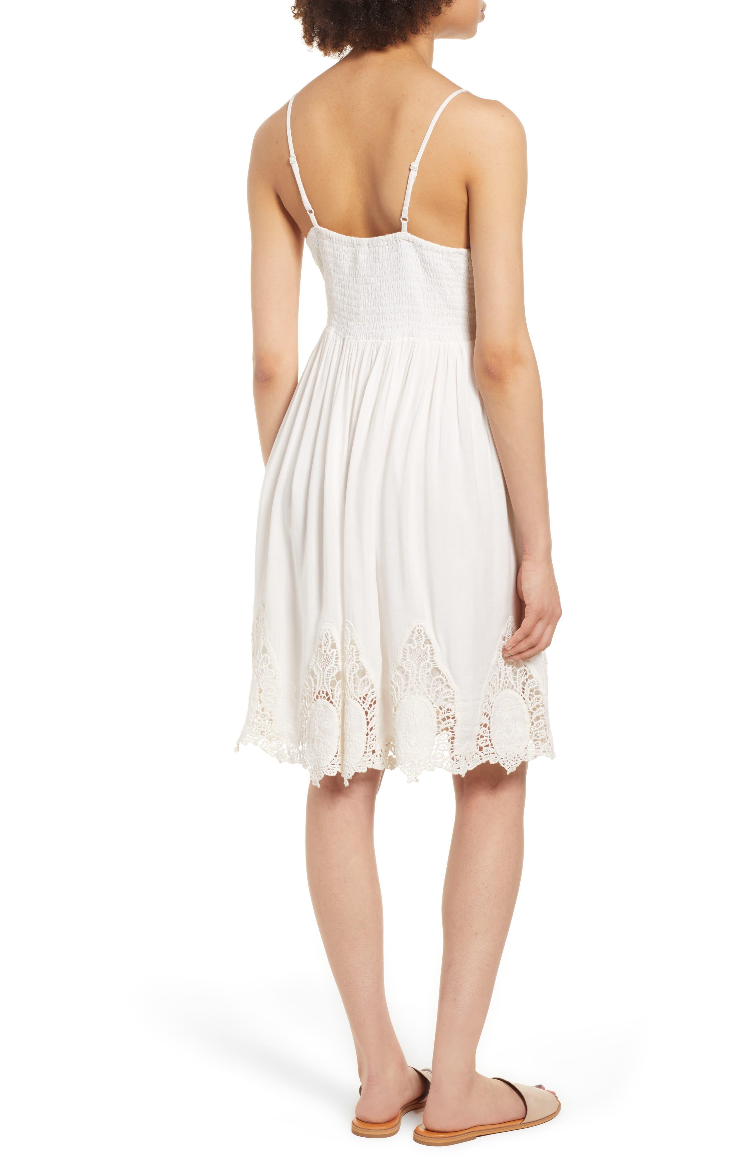 Janika Crochet & Lace Trim Dress,                             Alternate thumbnail 3, color,                             Eggshell
