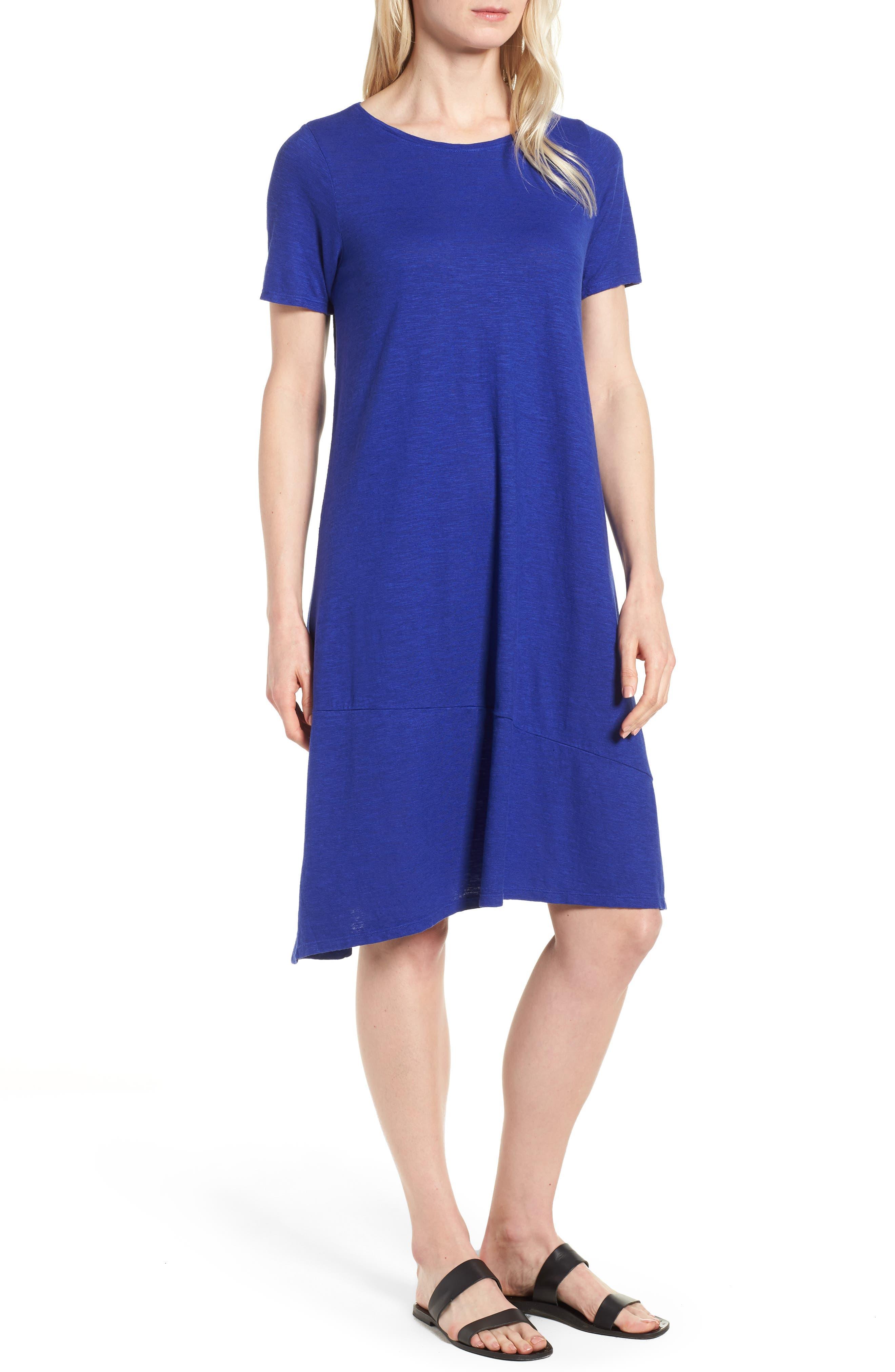 Asymmetrical Hemp Blend Shift Dress,                         Main,                         color, Blue Violet