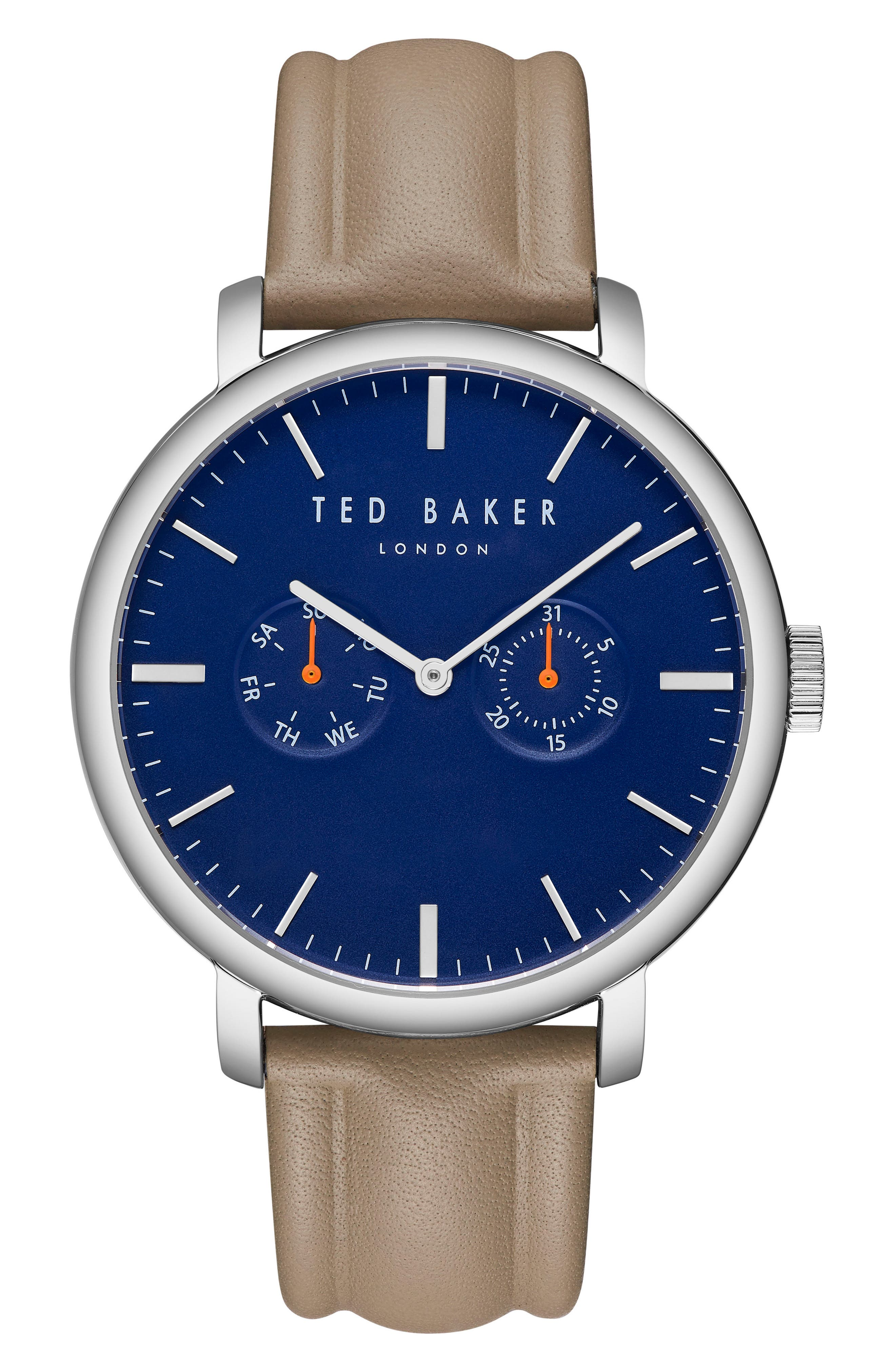 Trent Leather Strap Watch, 43mm,                             Main thumbnail 1, color,                             Blue/ Light Green
