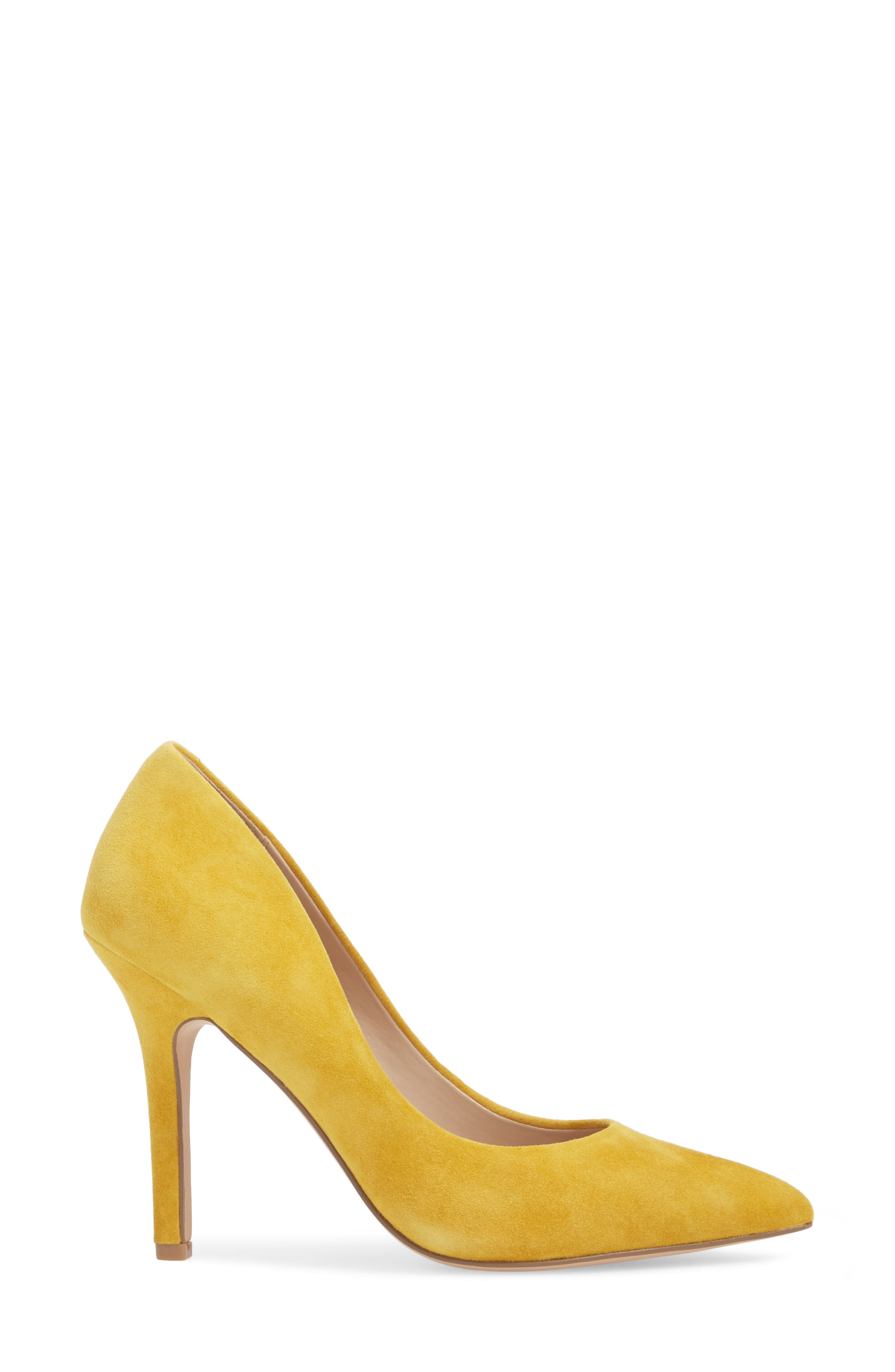 Maxx Pointy Toe Pump,                             Alternate thumbnail 3, color,                             Canary Suede