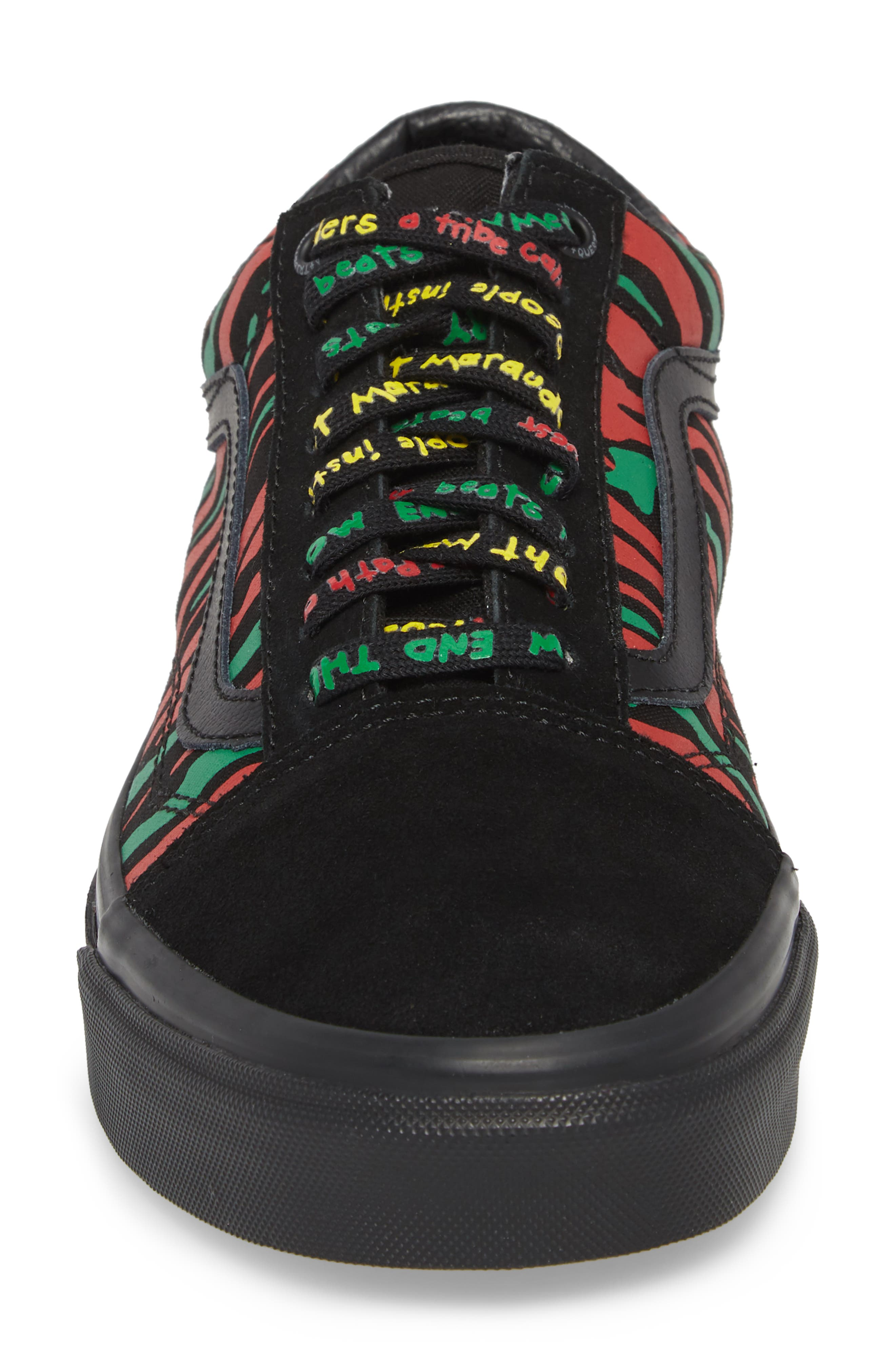 ATCQ Old Skool Sneaker,                             Alternate thumbnail 4, color,                             Black Leather