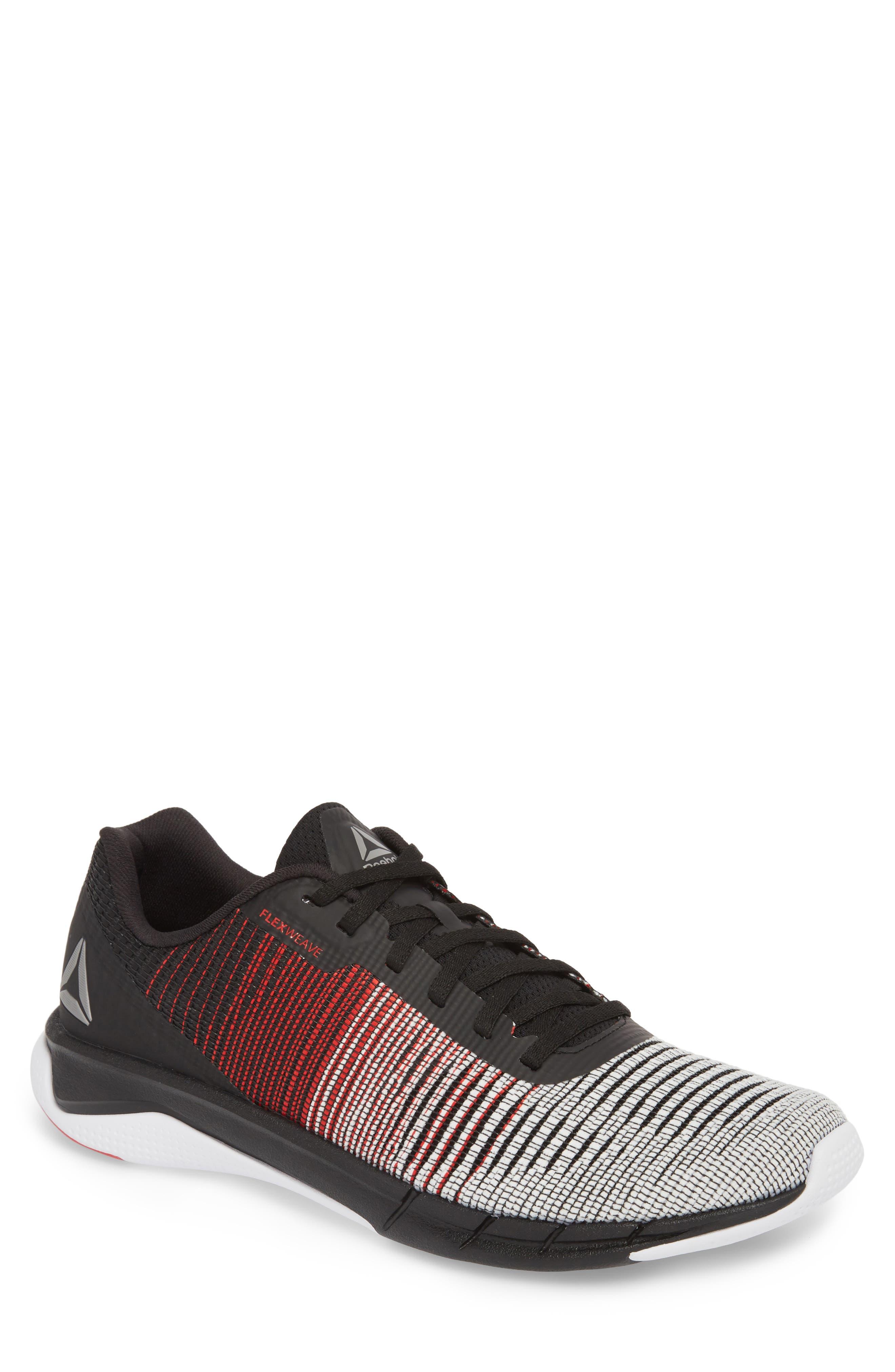 Fast Flexweave<sup>™</sup> Running Shoe,                             Main thumbnail 1, color,                             White/ Primal Red/ Black