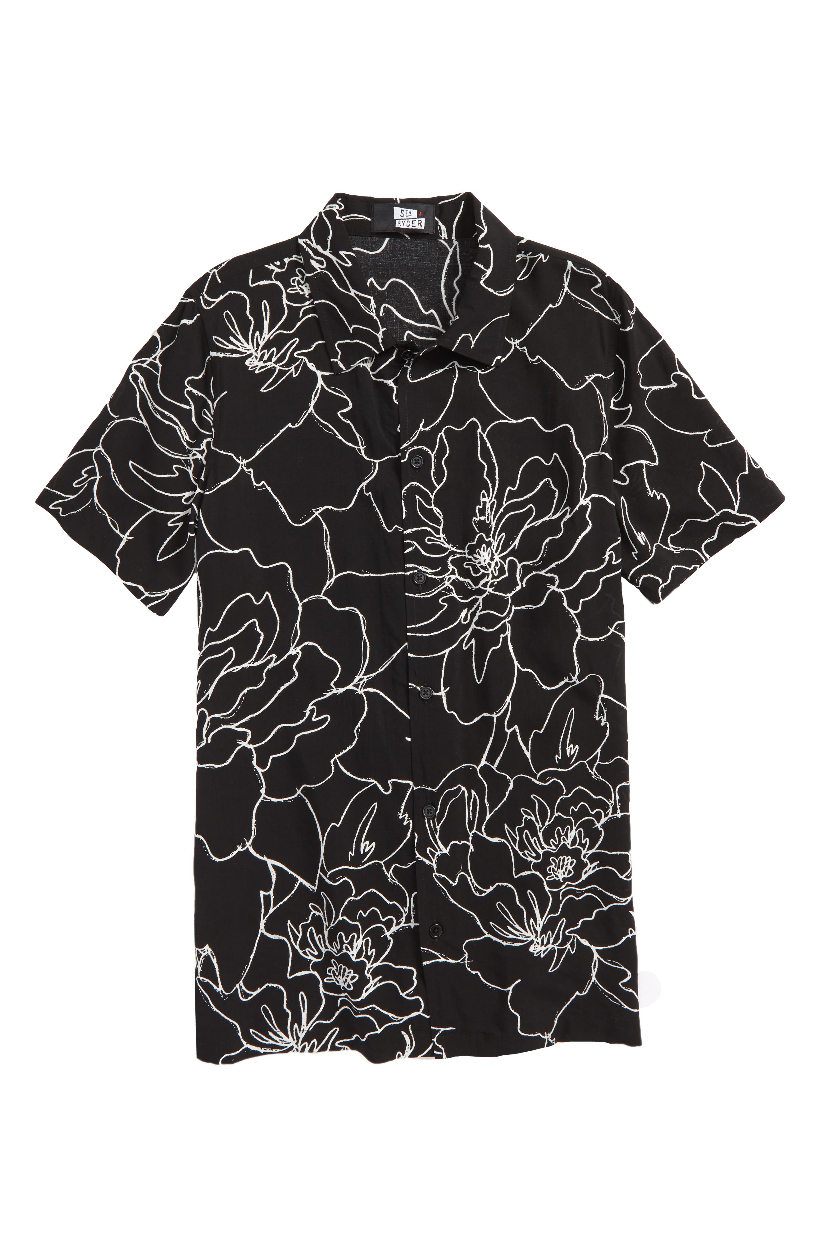 Floral Print Woven Shirt,                             Main thumbnail 1, color,                             Black Peonies