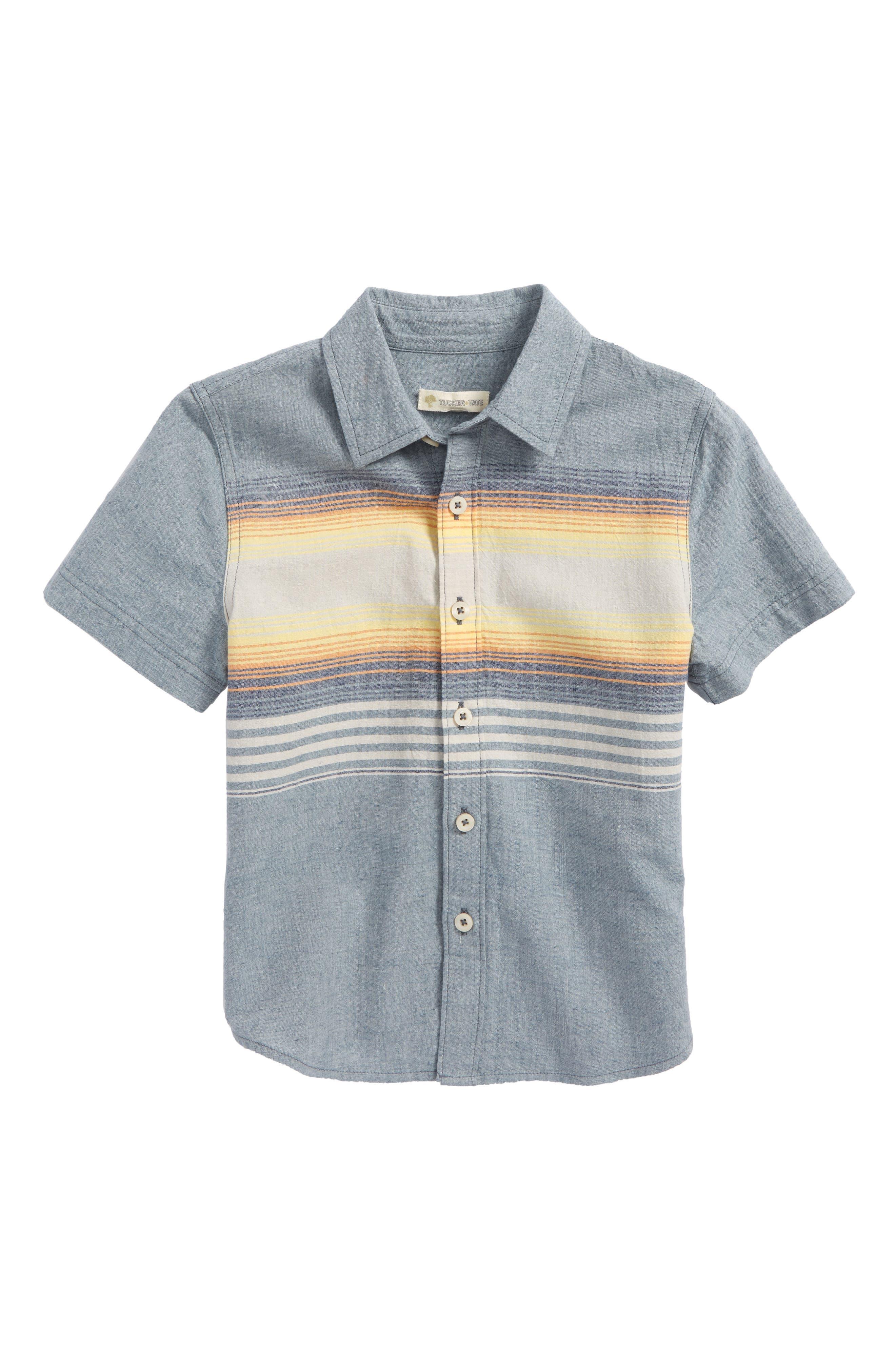 Chambray Stripe Shirt,                             Main thumbnail 1, color,                             Blue Chambray Sunset Stripe