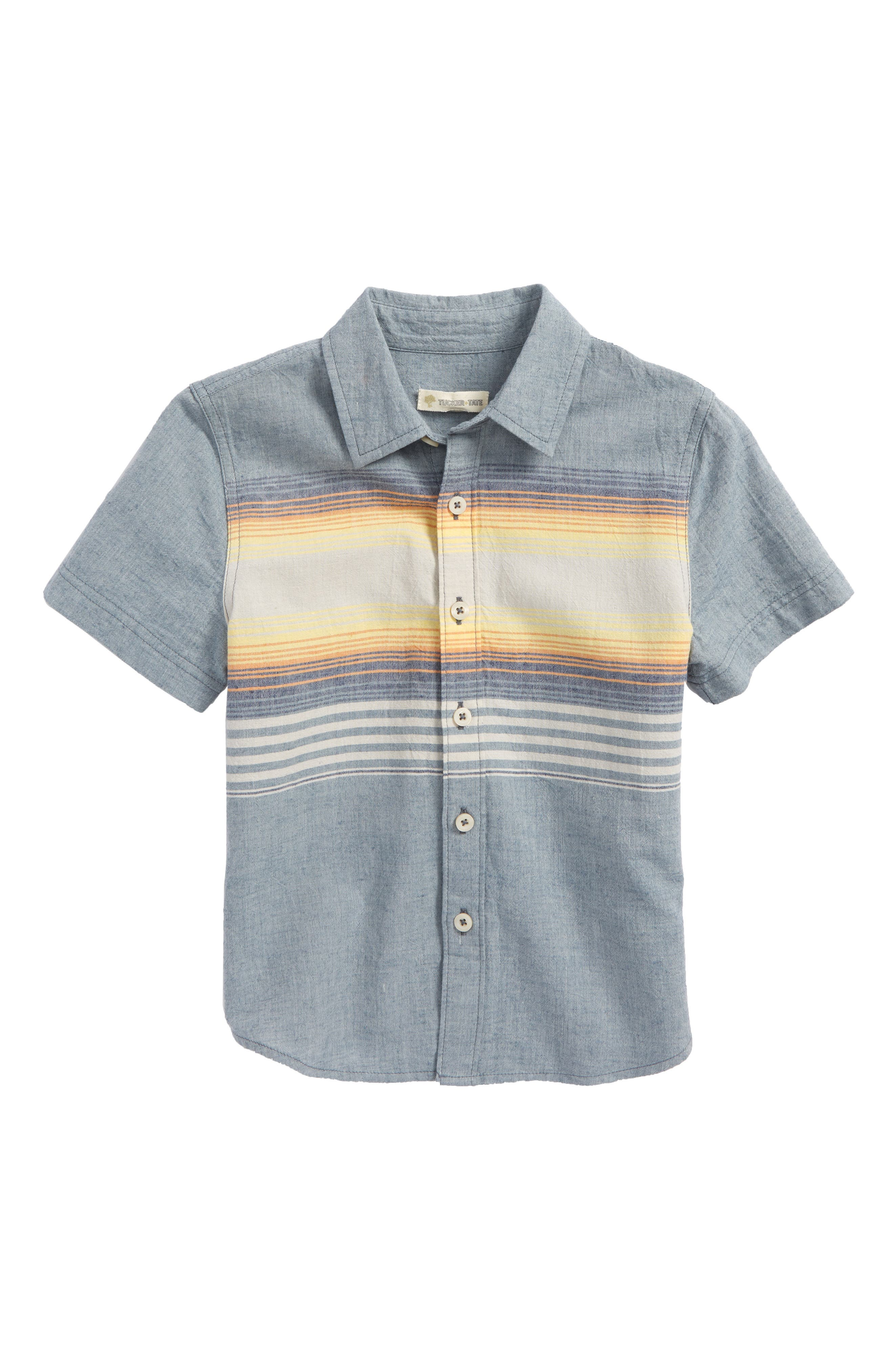 Chambray Stripe Shirt,                         Main,                         color, Blue Chambray Sunset Stripe