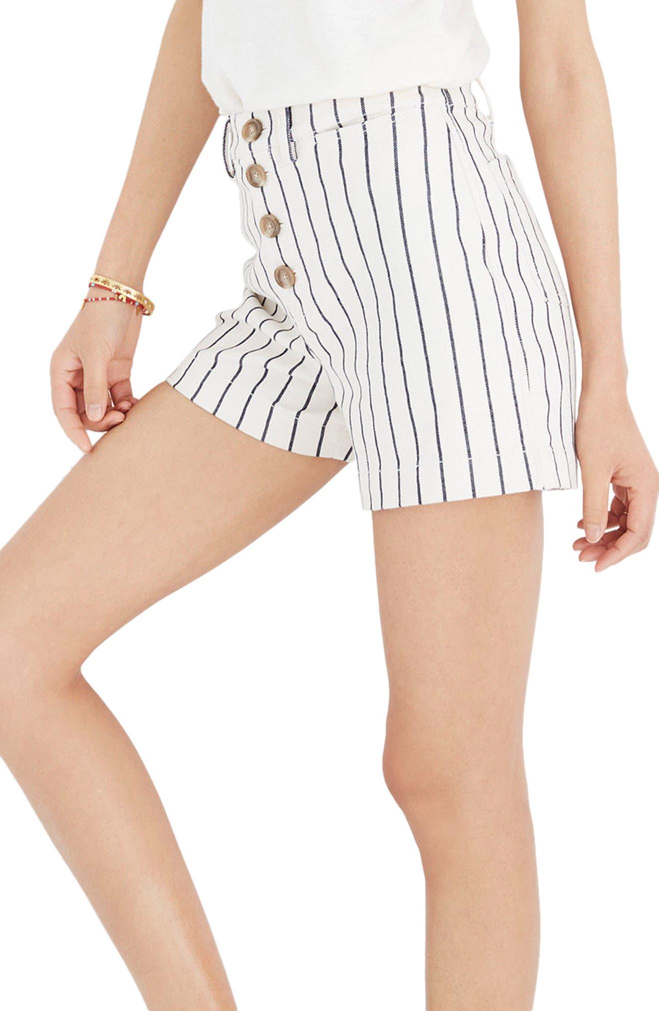 Emmett Stripe Button Front Shorts,                         Main,                         color, Rail Road Stripe