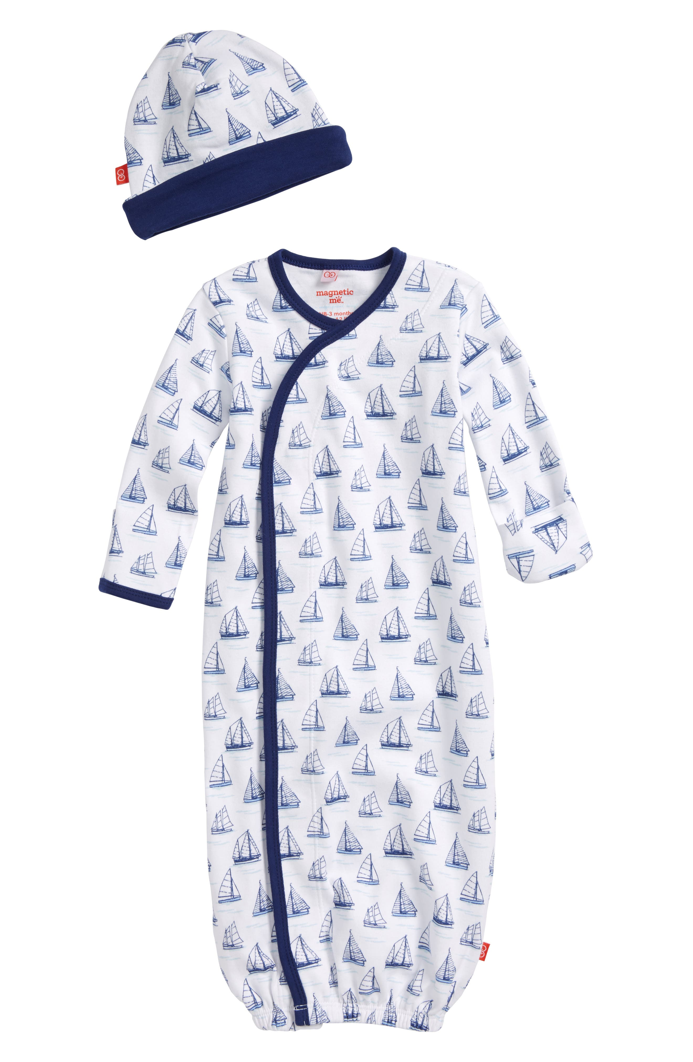 Alternate Image 1 Selected - Magnetic Me Tall Ships Print Gown & Hat Set (Baby)