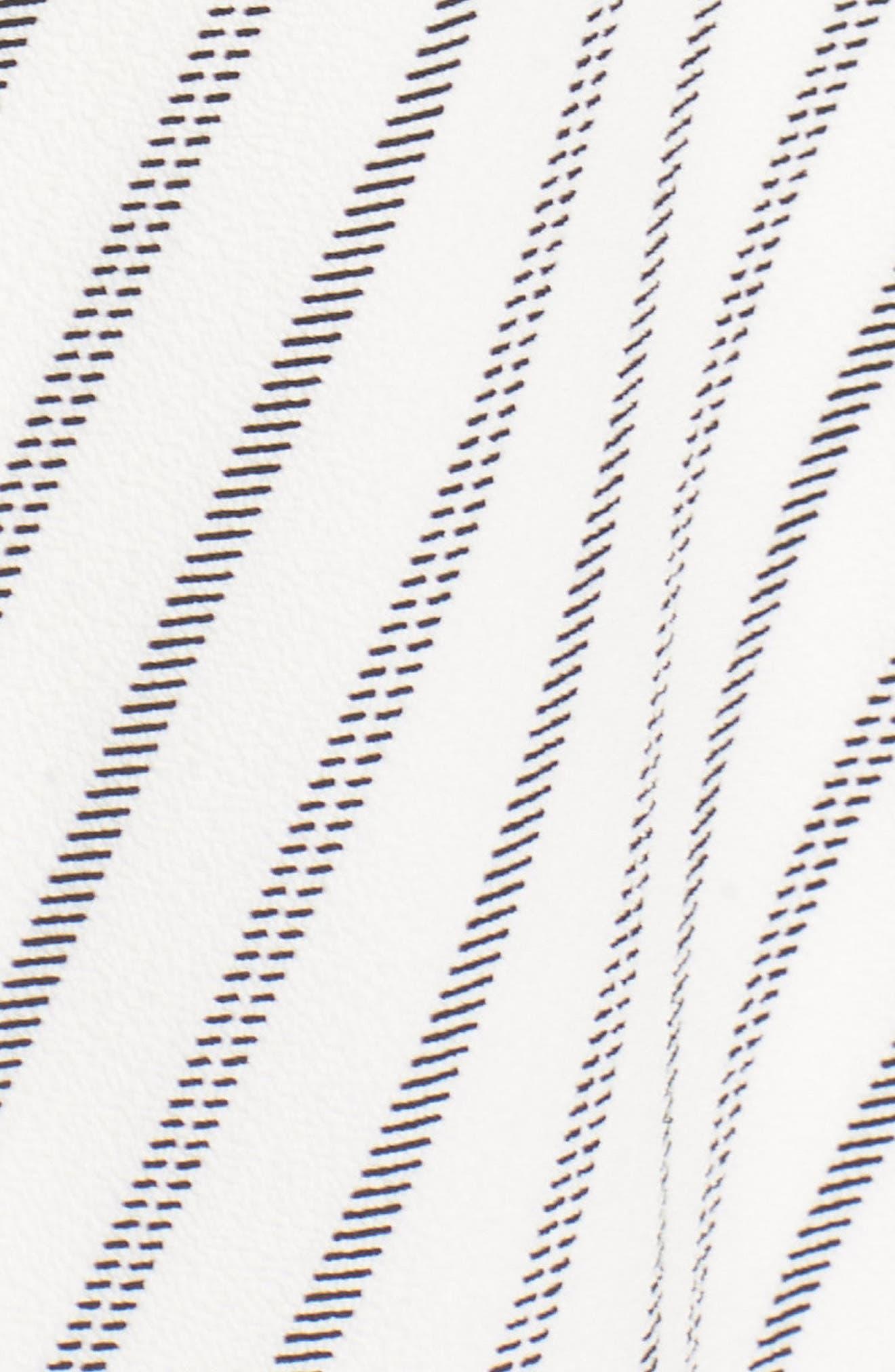 Stripe Ruched Handkerchief Hem Dress,                             Alternate thumbnail 6, color,                             Soft White/ Black