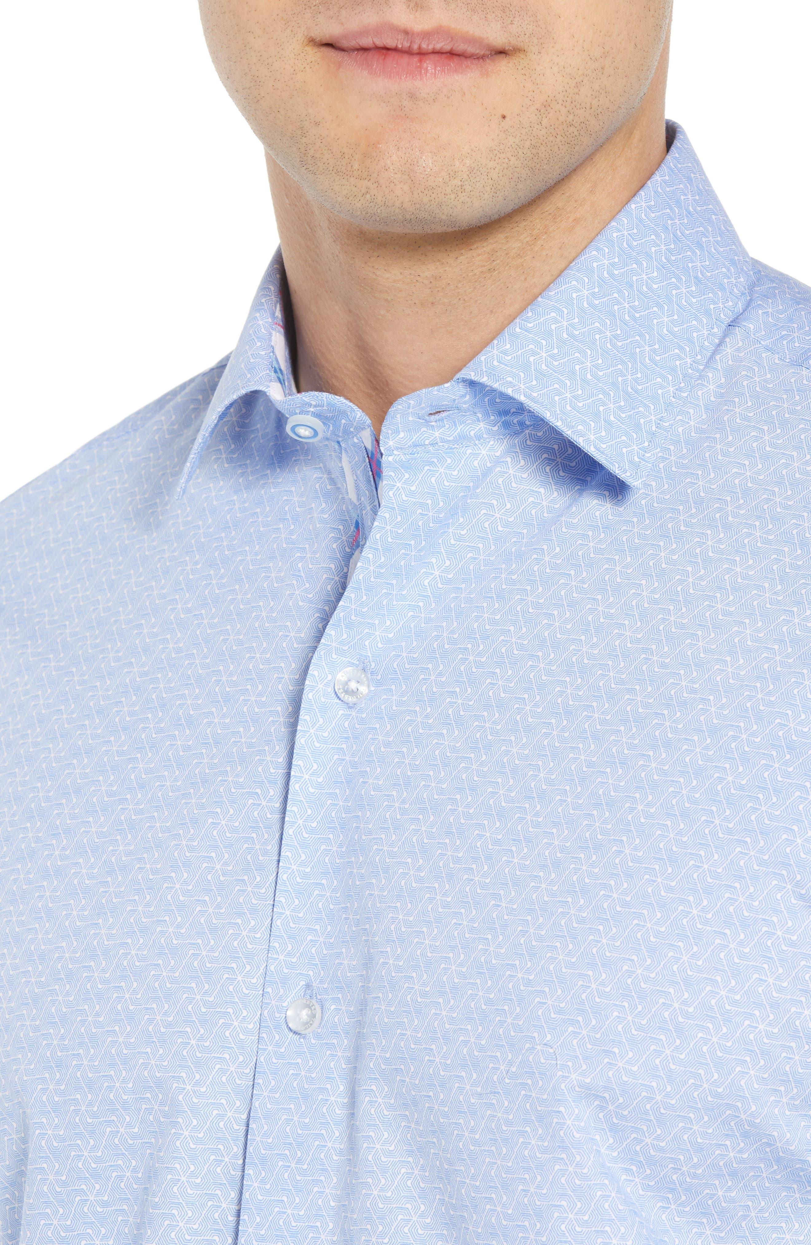 Acton Regular Fit Geo Print Sport Shirt,                             Alternate thumbnail 2, color,                             Light Blue