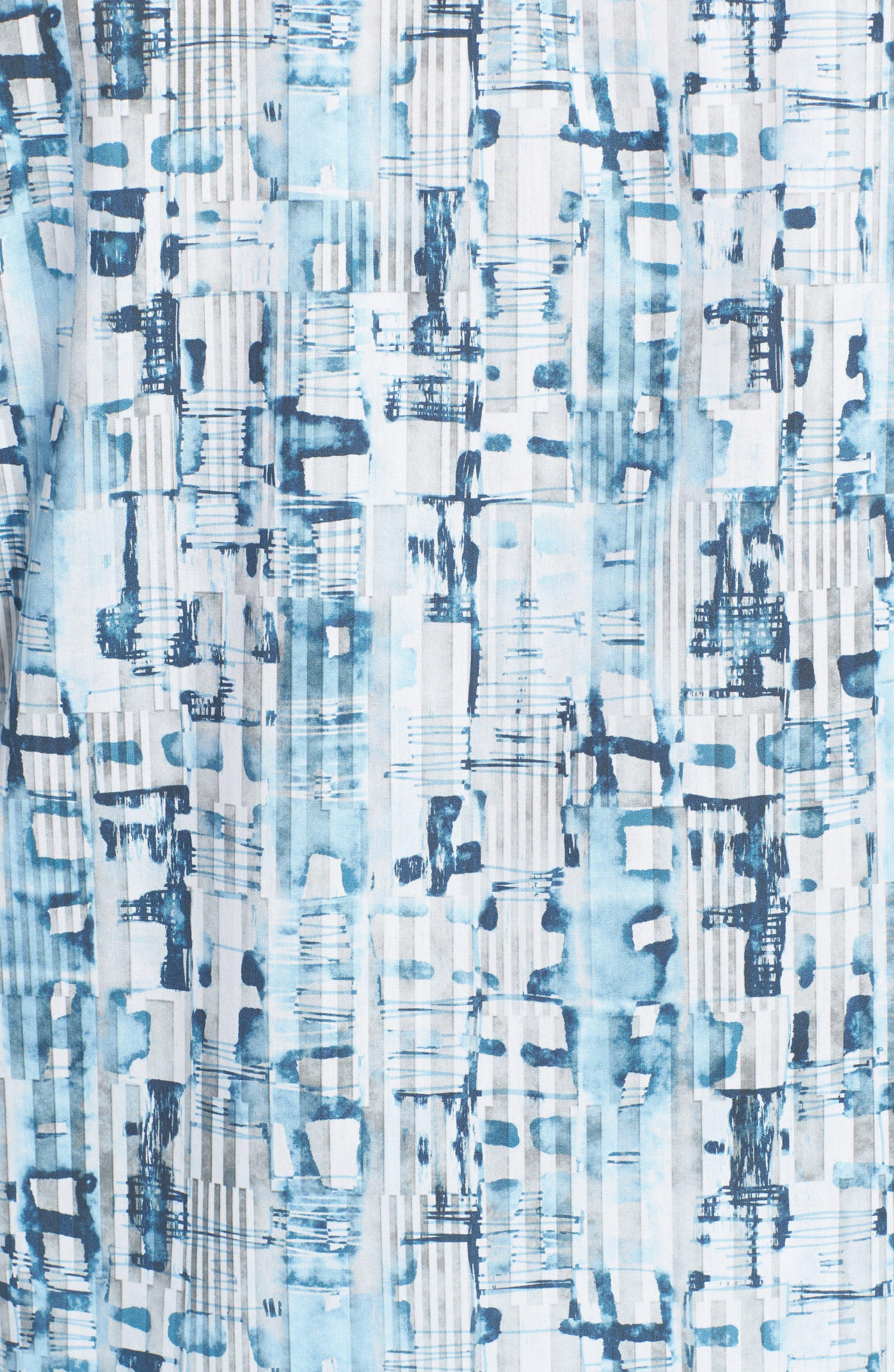 Classic Fit Abstract Stripe Print Sport Shirt,                             Alternate thumbnail 5, color,                             Aqua