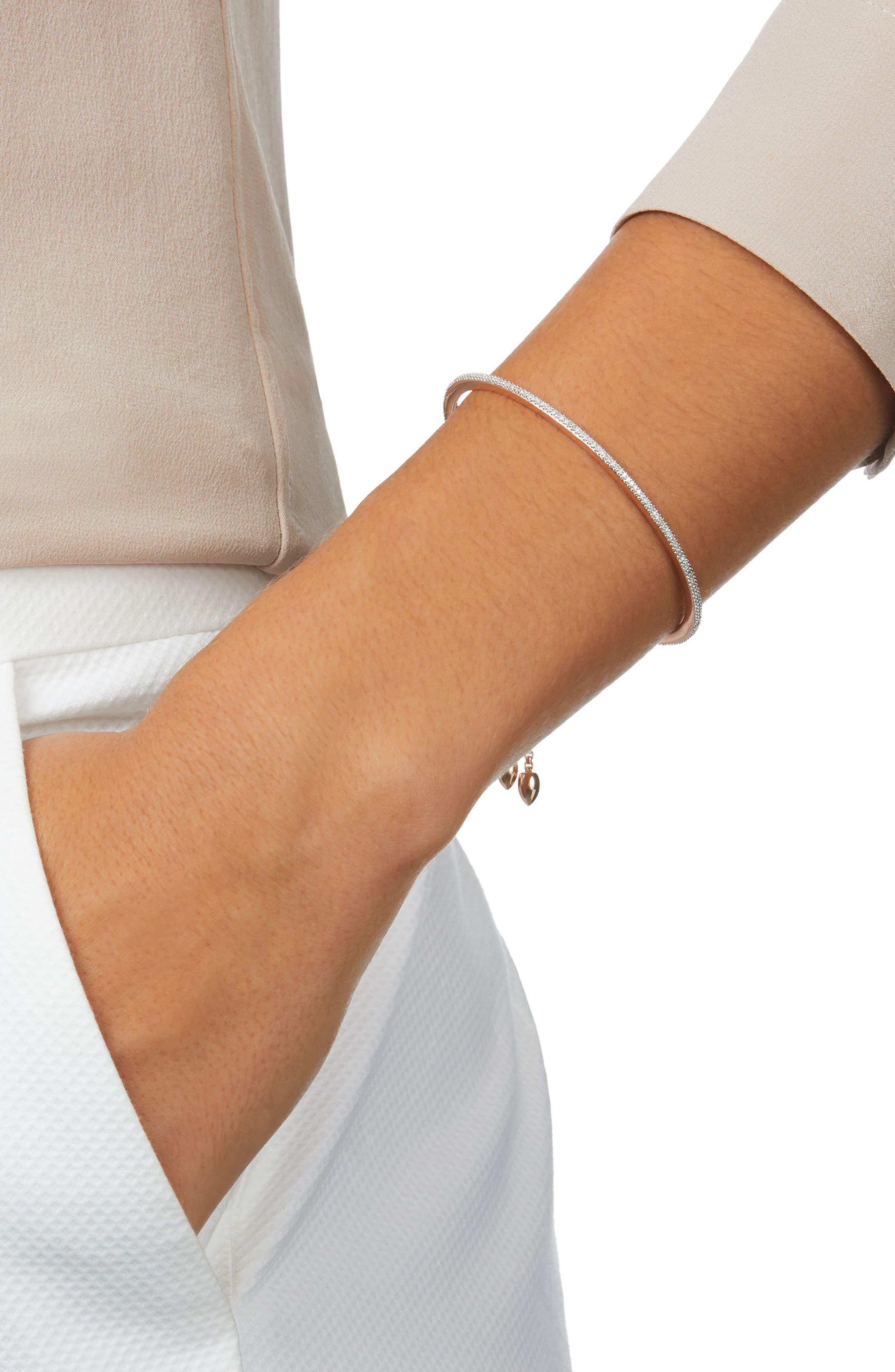 Petite Fiji Skinny Bar Chain Diamond Bracelet,                             Alternate thumbnail 2, color,                             Rose Gold