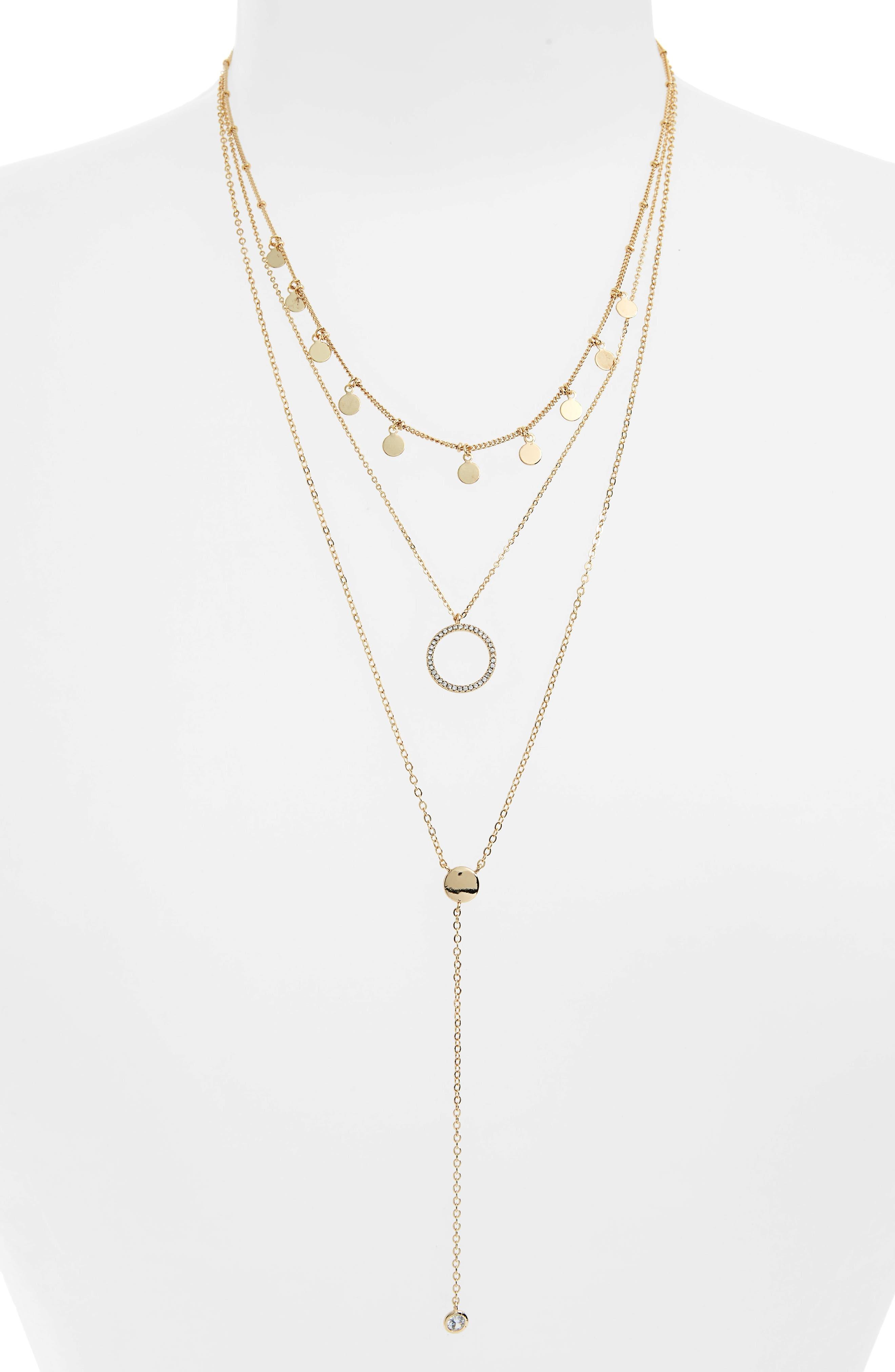Disks & Circle Layered Necklace,                         Main,                         color, Gold