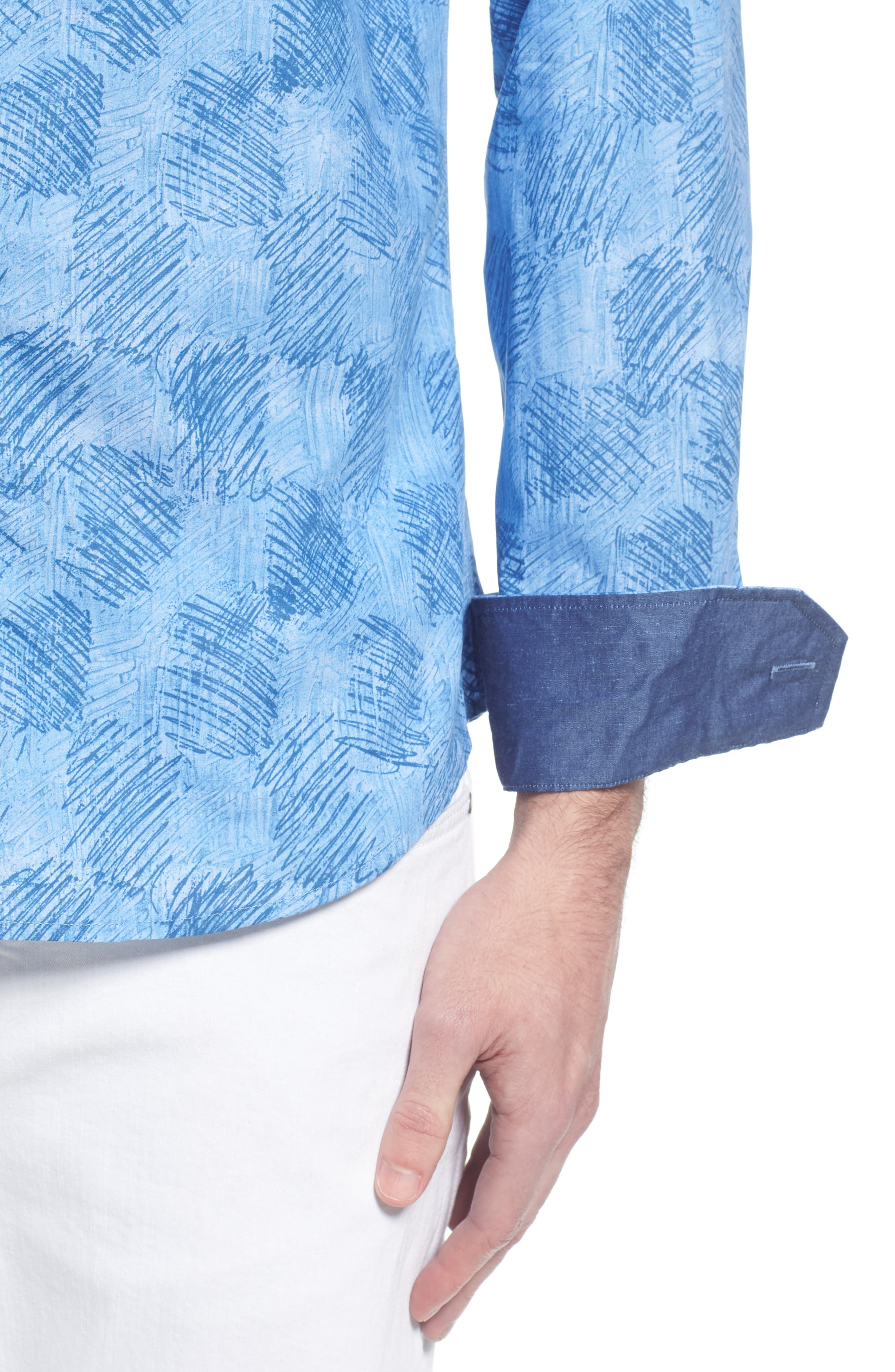 Shaped Fit Abstract Check Sport Shirt,                             Alternate thumbnail 2, color,                             Air Blue