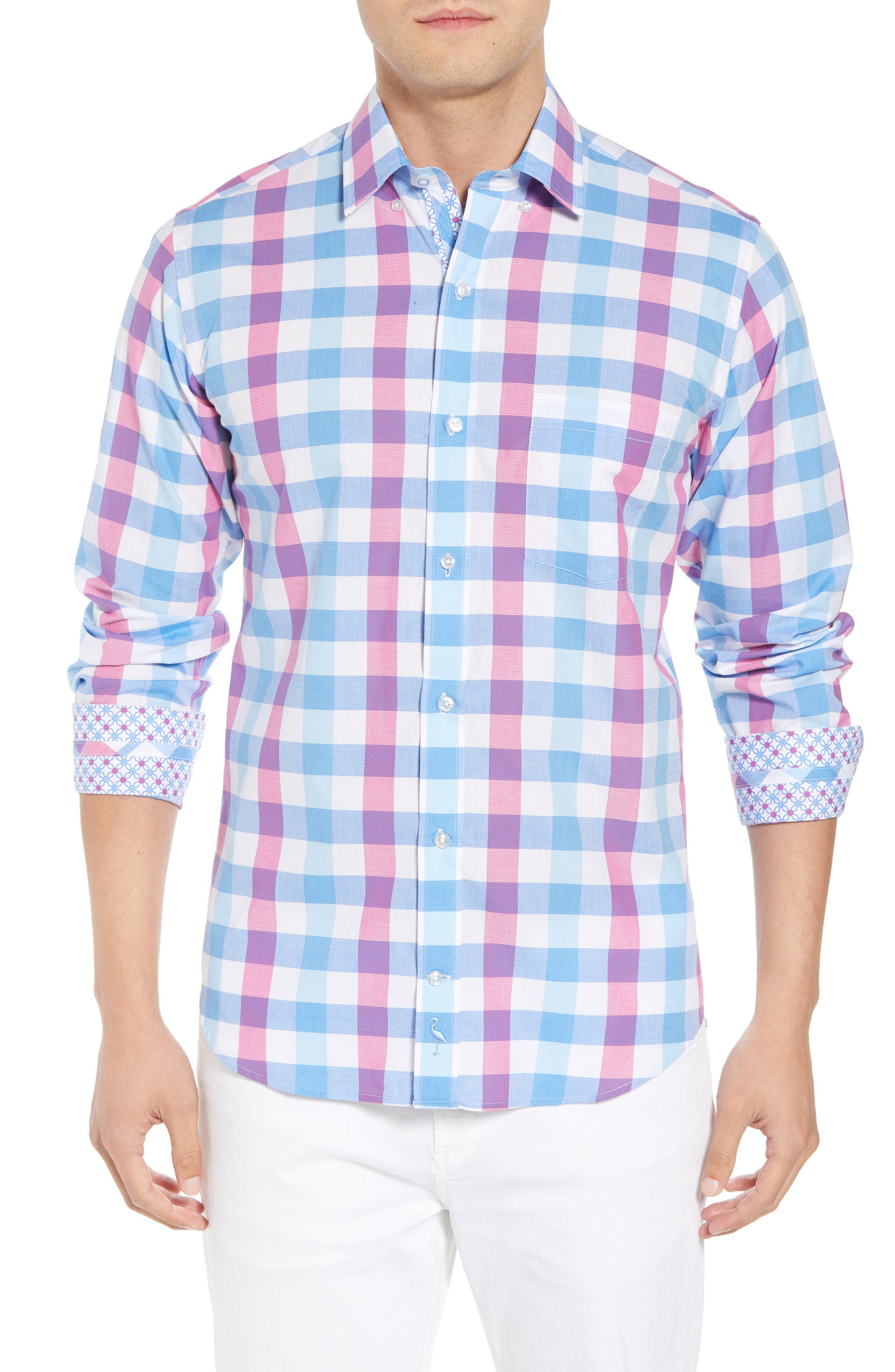 Bazel Regular Fit Check Sport Shirt,                             Main thumbnail 1, color,                             Light Blue