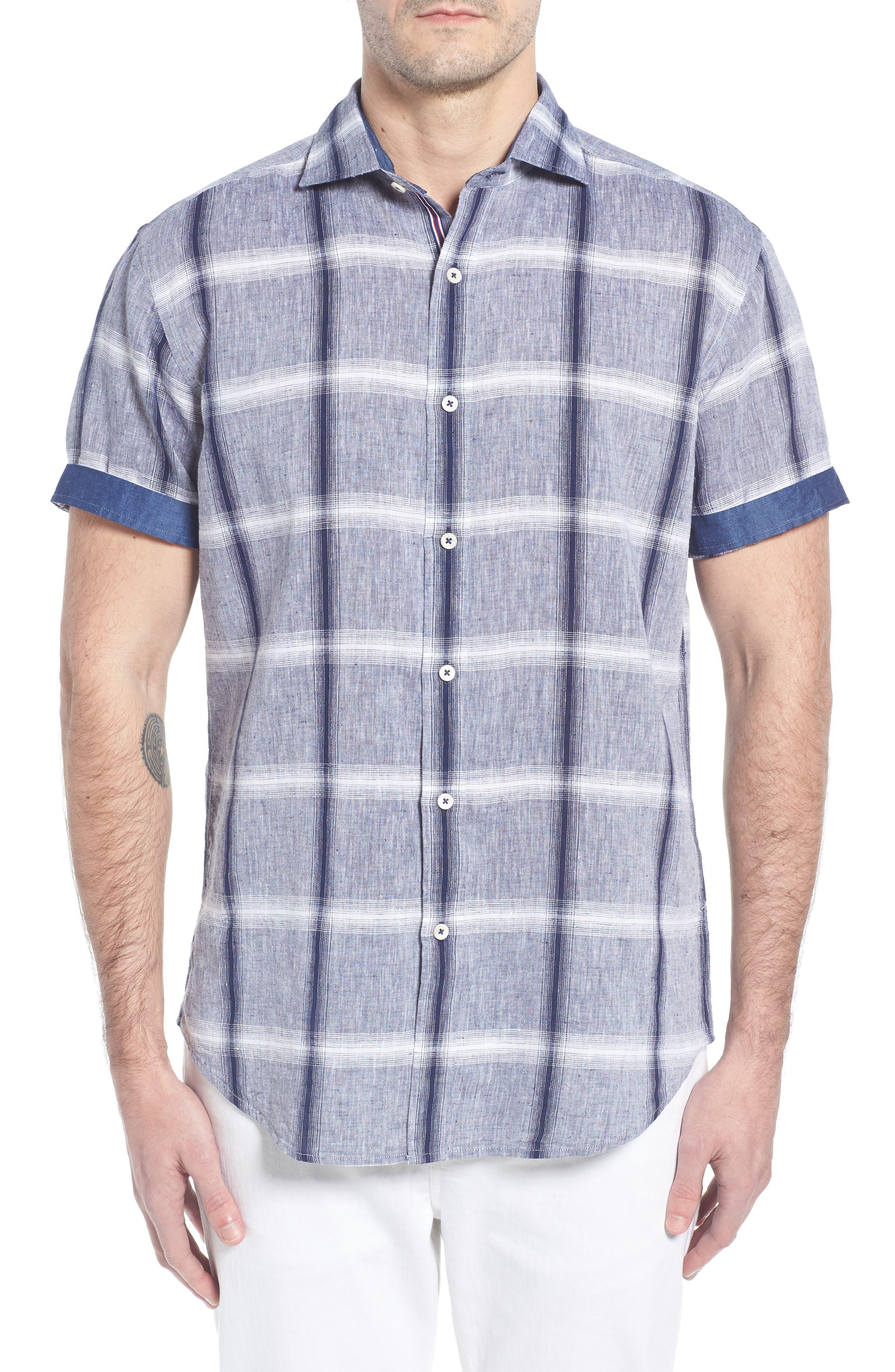 Shaped Fit Check Linen & Cotton Sport Shirt,                             Alternate thumbnail 4, color,                             Navy
