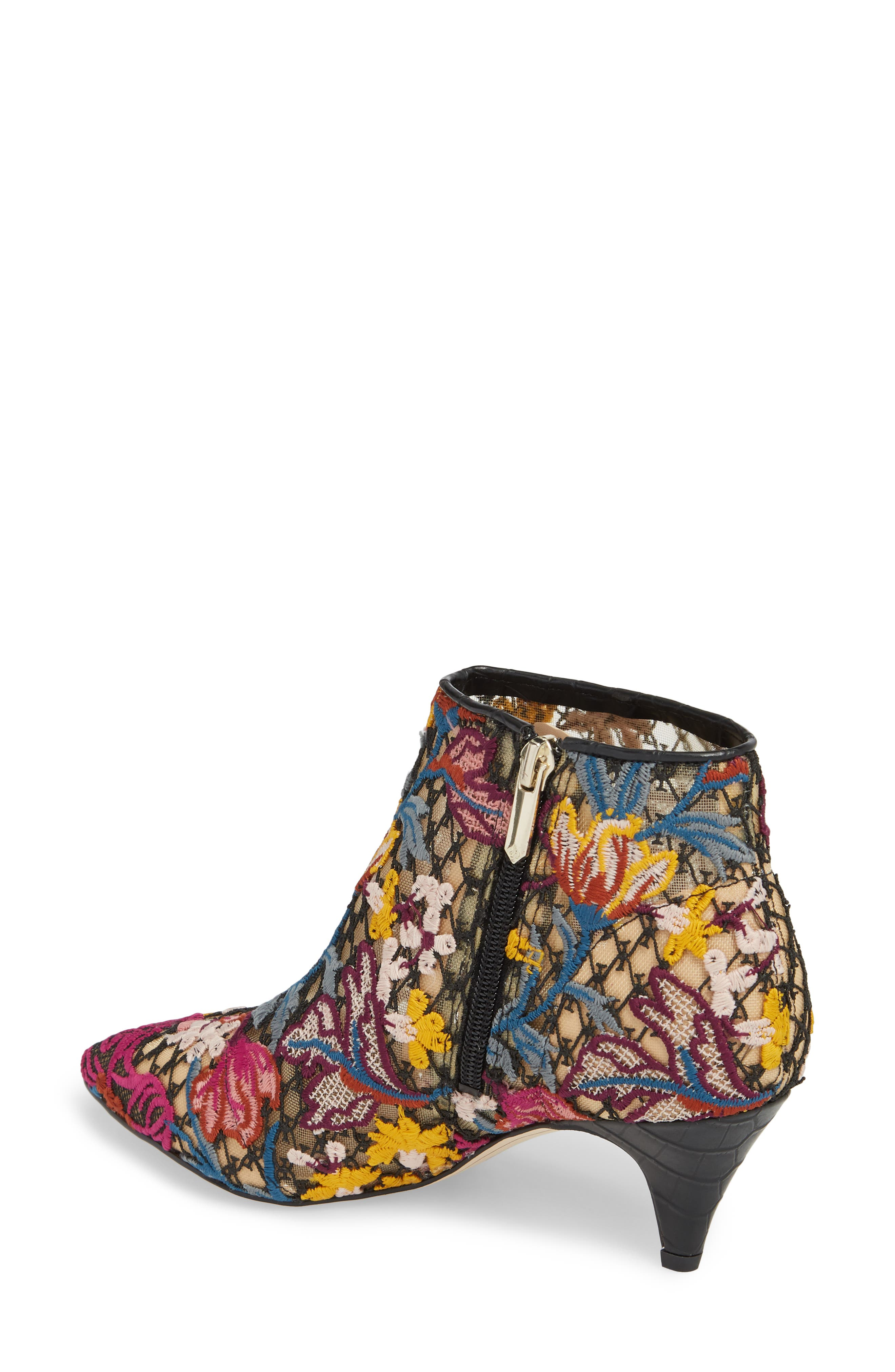 Kinzey Pointy Toe Bootie,                             Alternate thumbnail 2, color,                             Bright Multi Floral Lace