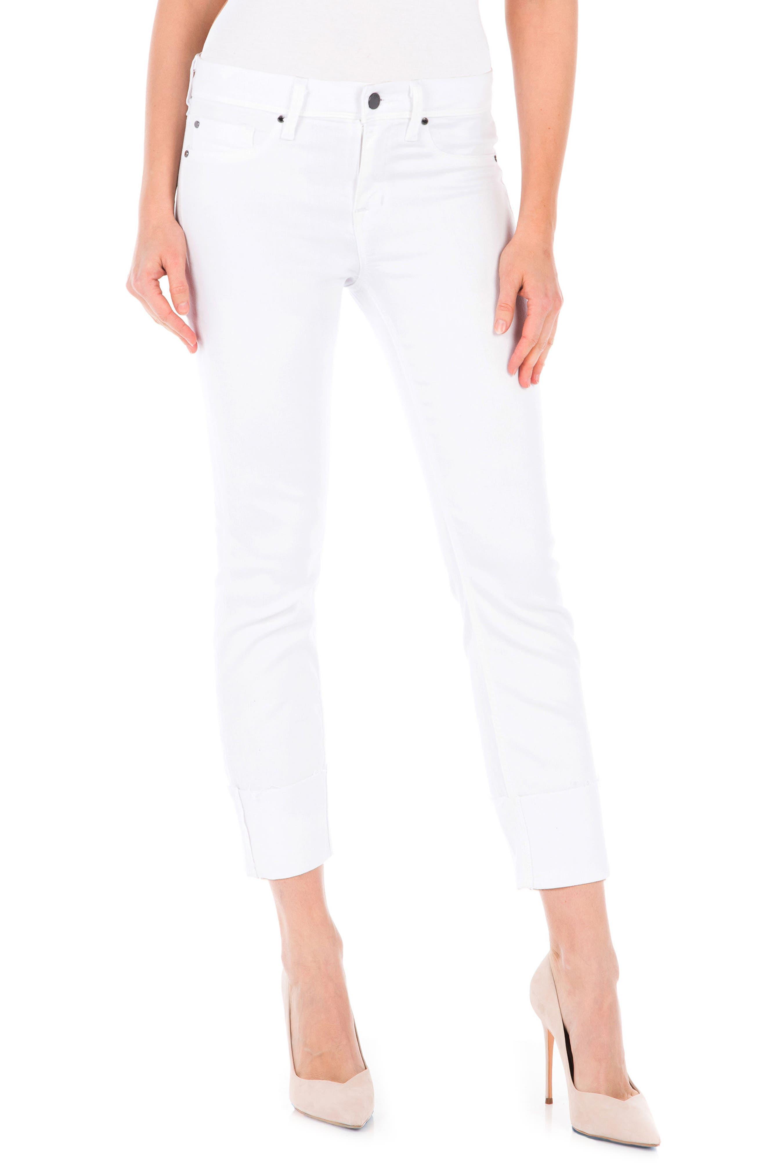 Fidelity Denim Stevie Crop Slim Straight Leg Jeans (White Riot)