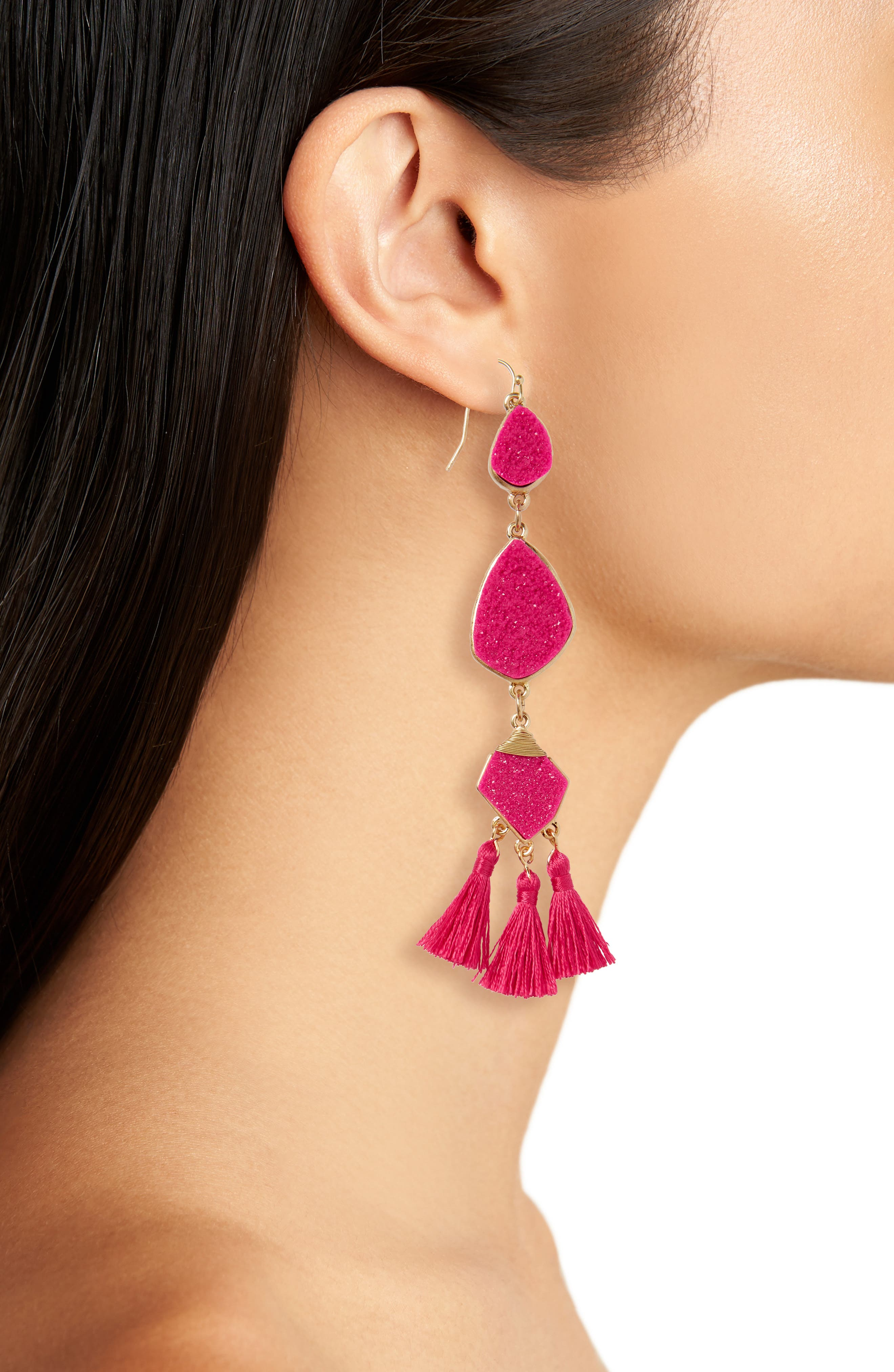 Drusy Tassel Earrings,                             Alternate thumbnail 2, color,                             Hot Pink