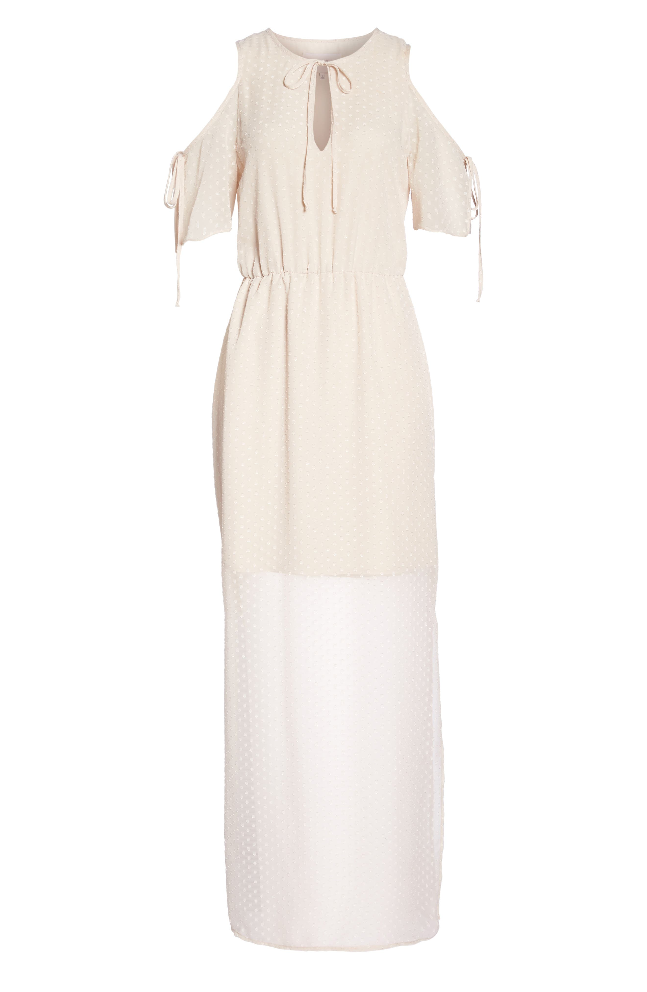 Tie Sleeve Cold Shoulder Maxi Dress,                             Alternate thumbnail 6, color,                             Champagne