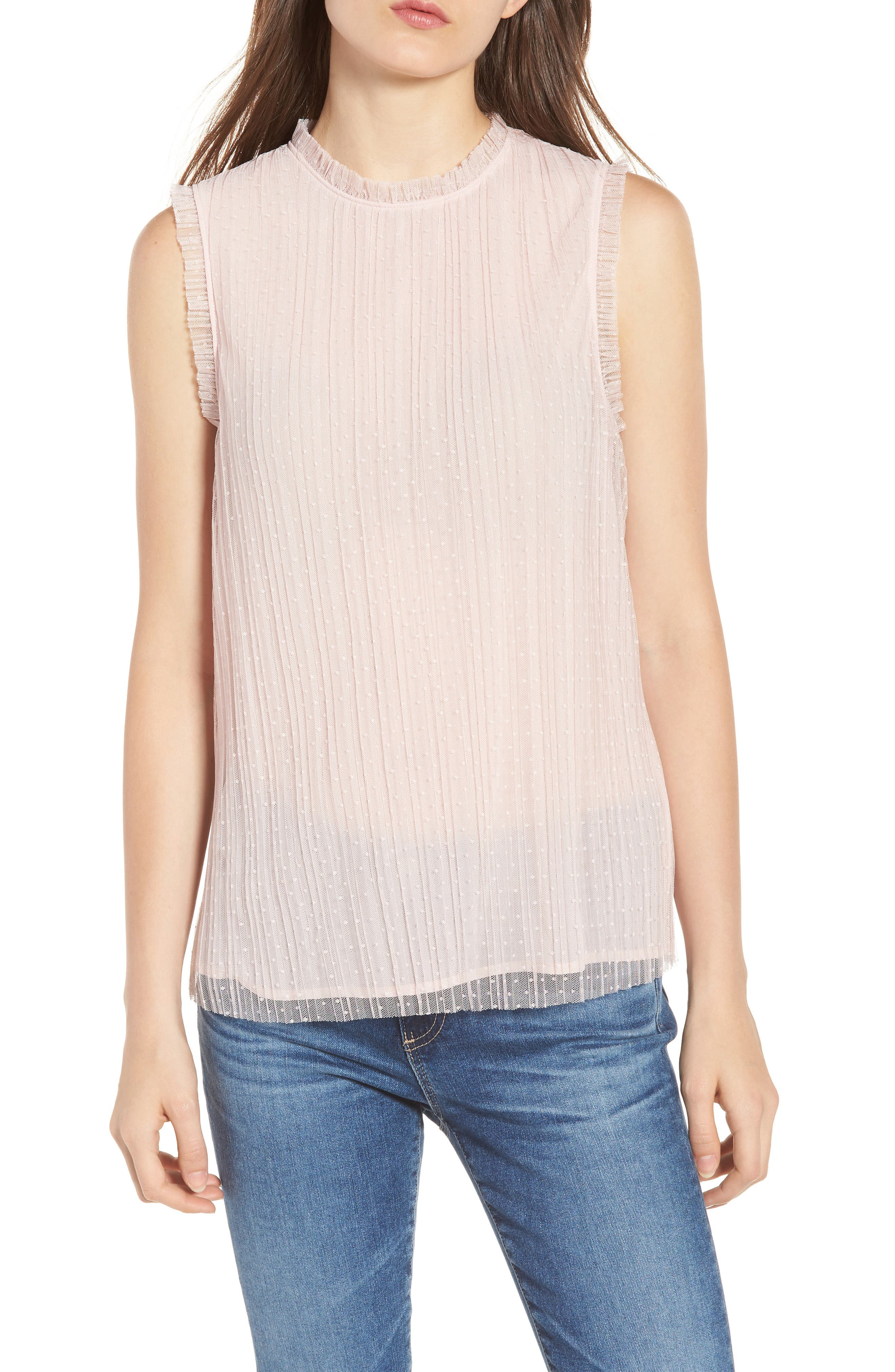 Dotted Mesh Top,                             Main thumbnail 1, color,                             Pink Peach