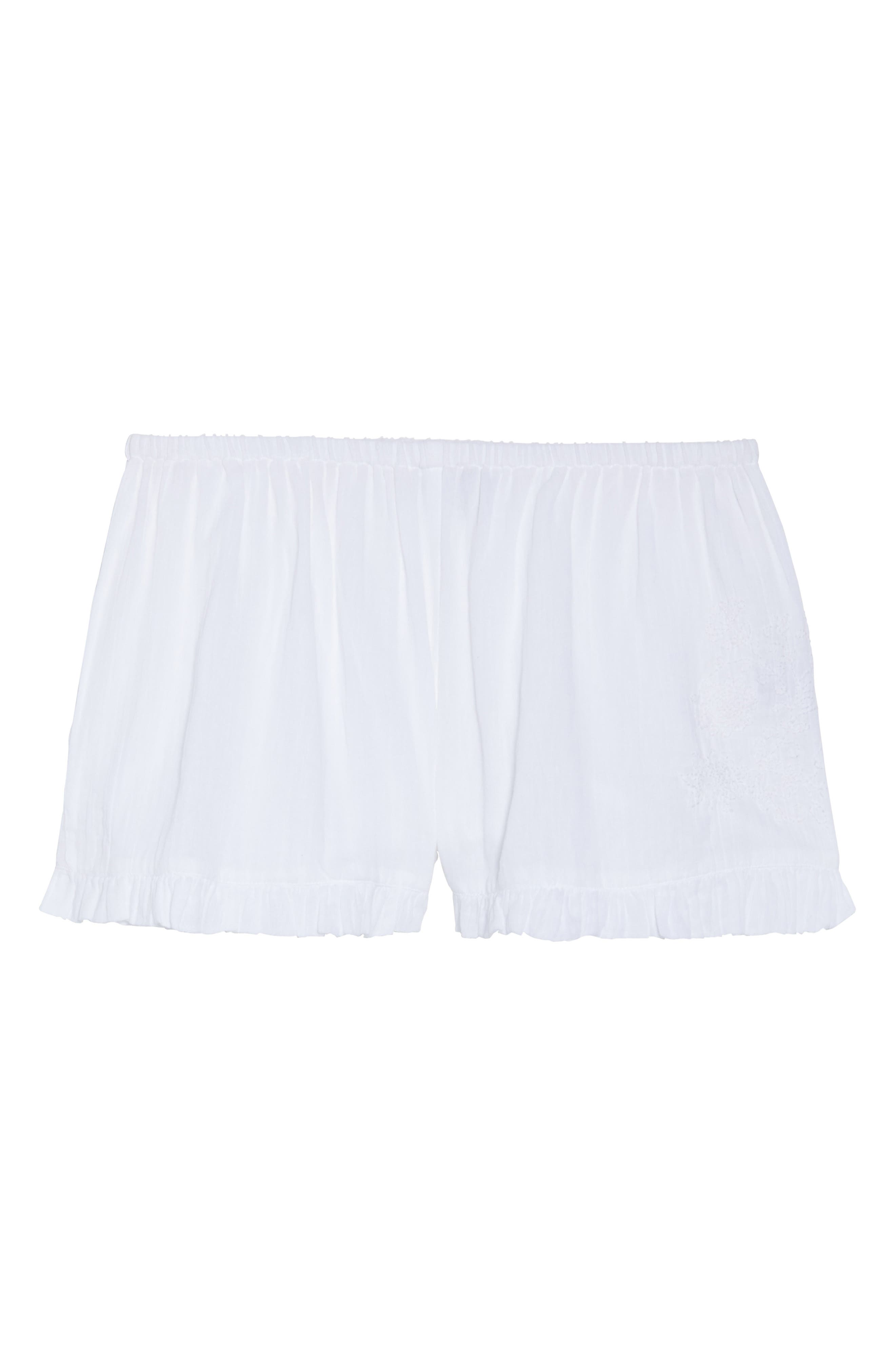 Cambria Ruffle Sleep Shorts,                             Alternate thumbnail 5, color,                             White