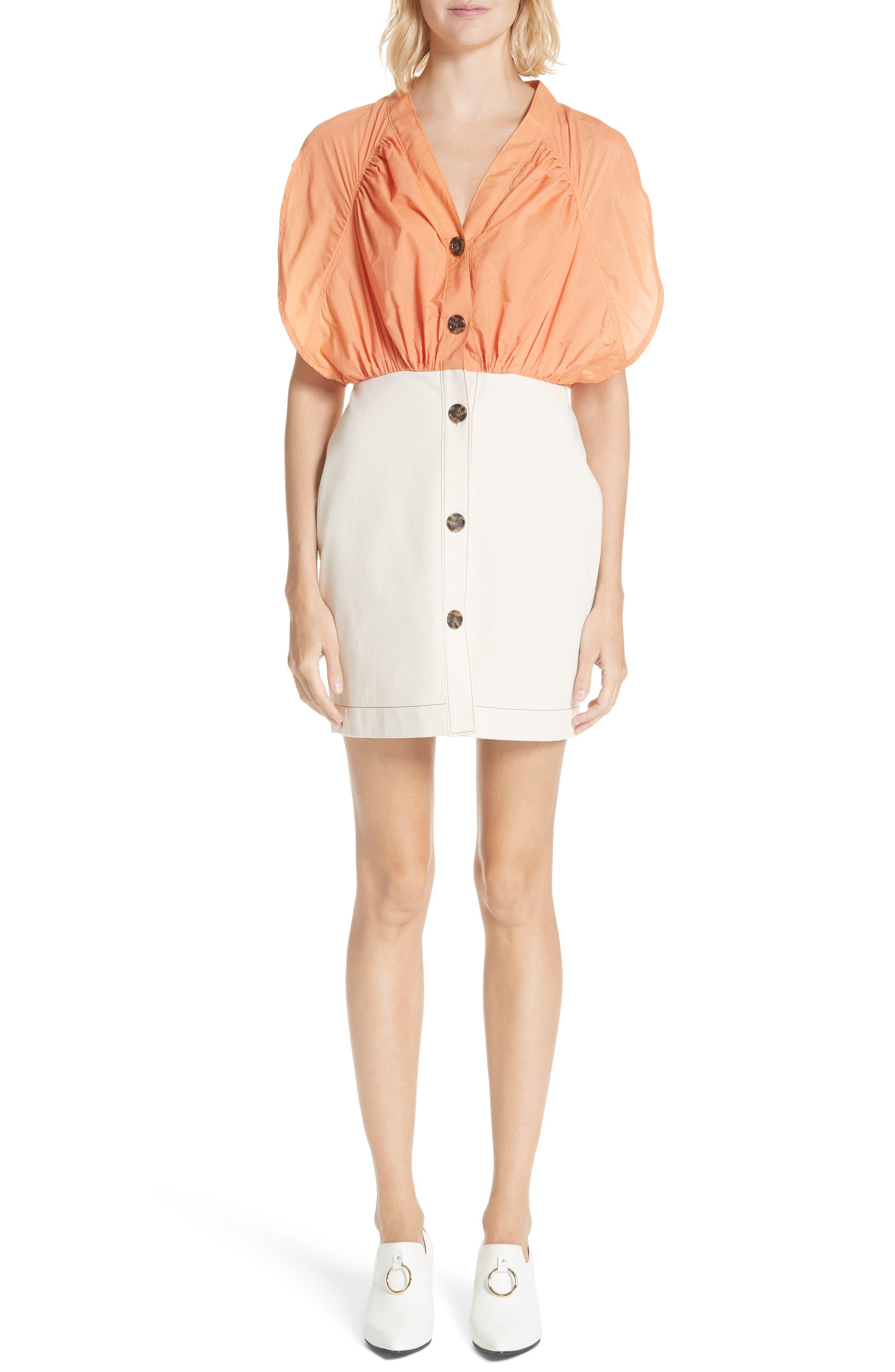 Yana Bicolor Dress,                         Main,                         color, Cotton Orange/ Denim Ecru