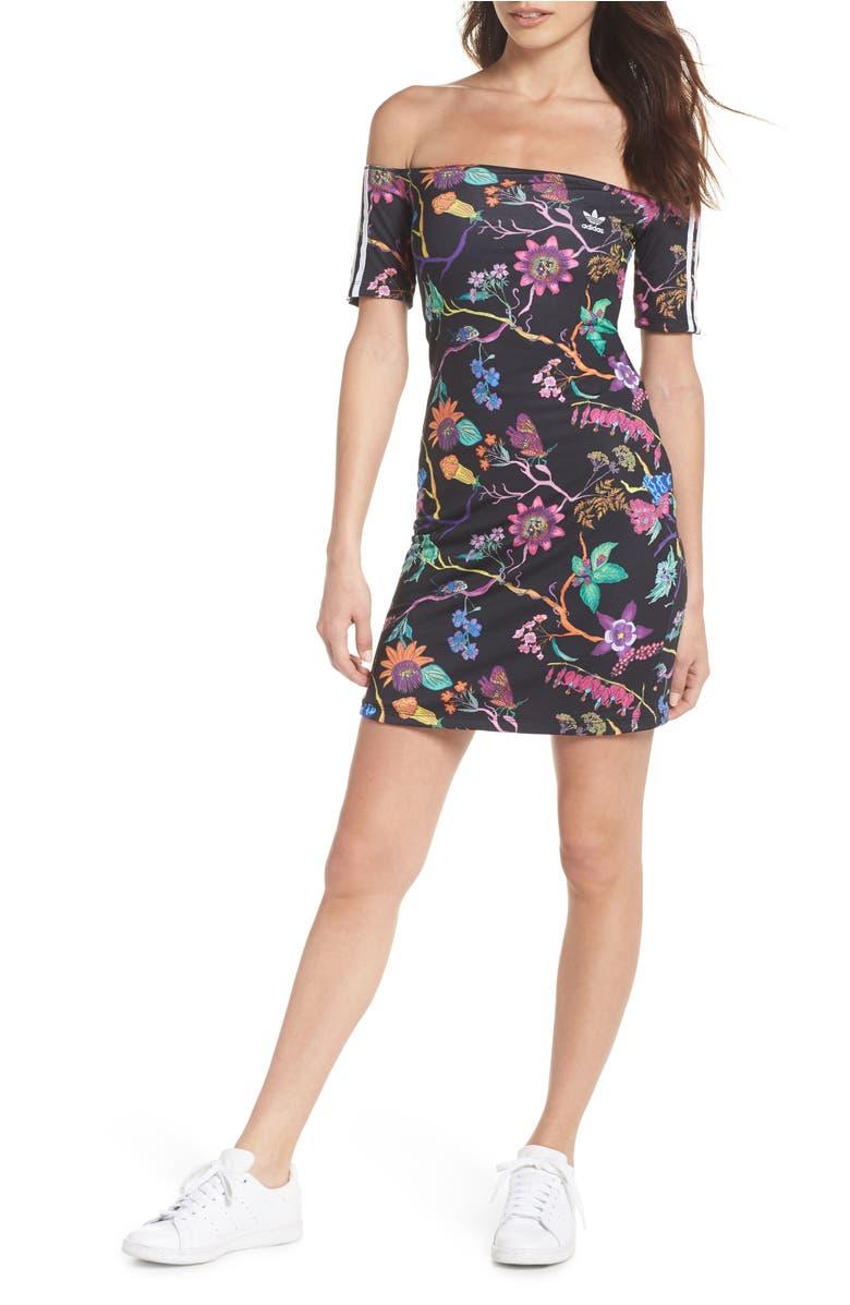 49e4b5469443 Adidas Originals Reversible Off The Shoulder Dress In Black Floral ...