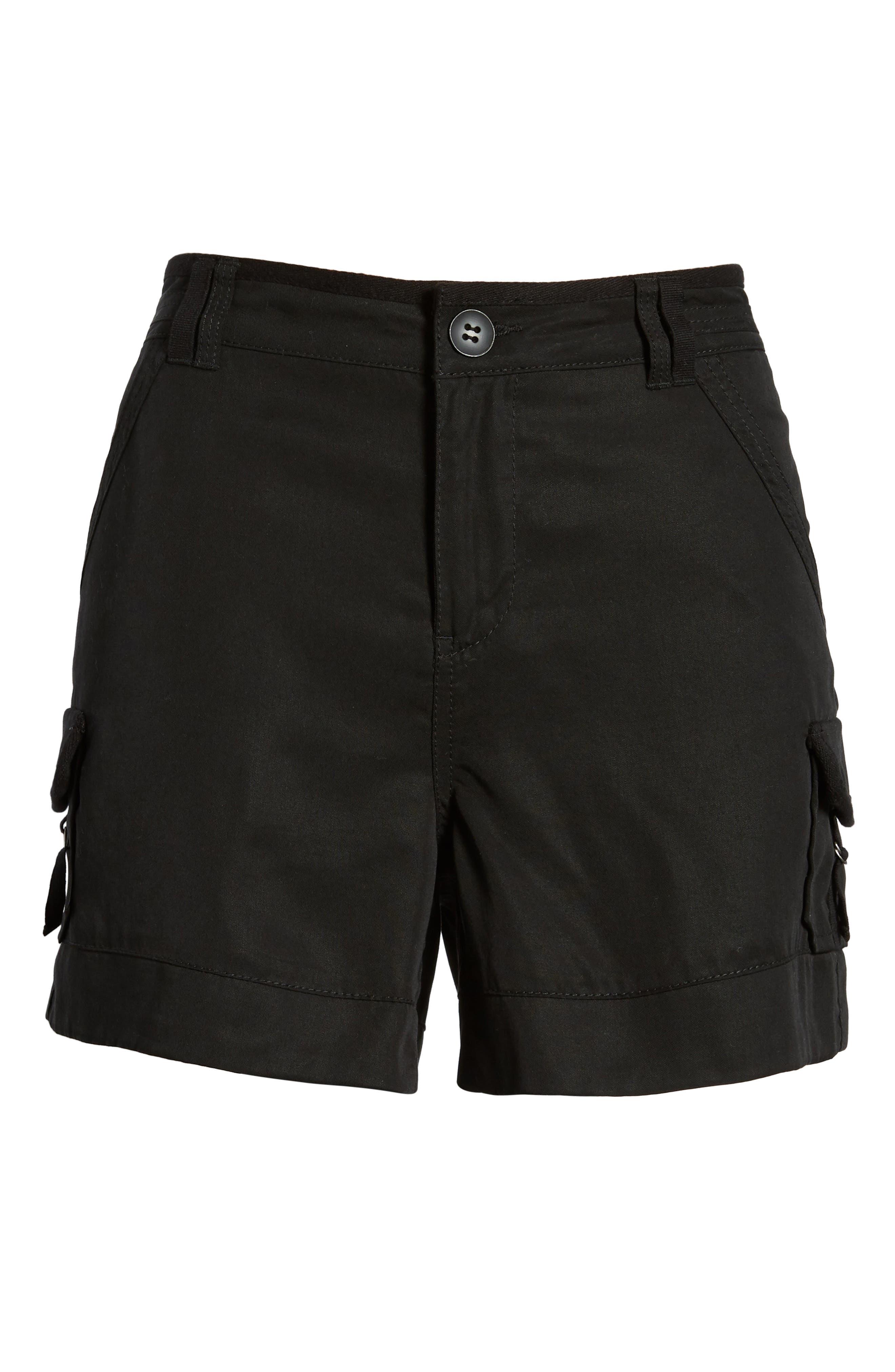 High Rise Tencel Shorts,                             Alternate thumbnail 6, color,                             Black