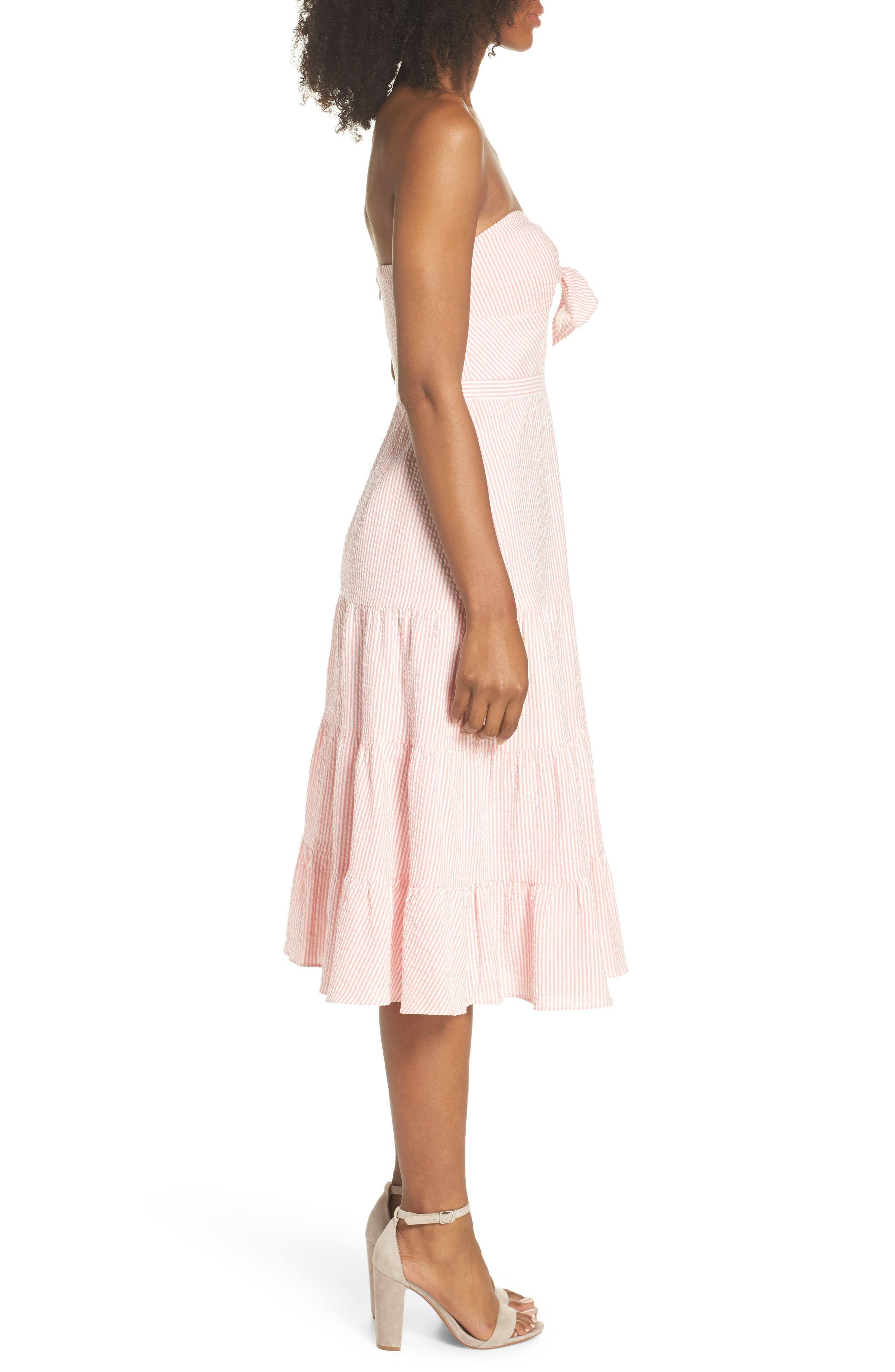J.Crew Tie Front Strapless Dress,                             Alternate thumbnail 3, color,                             Bright Coral