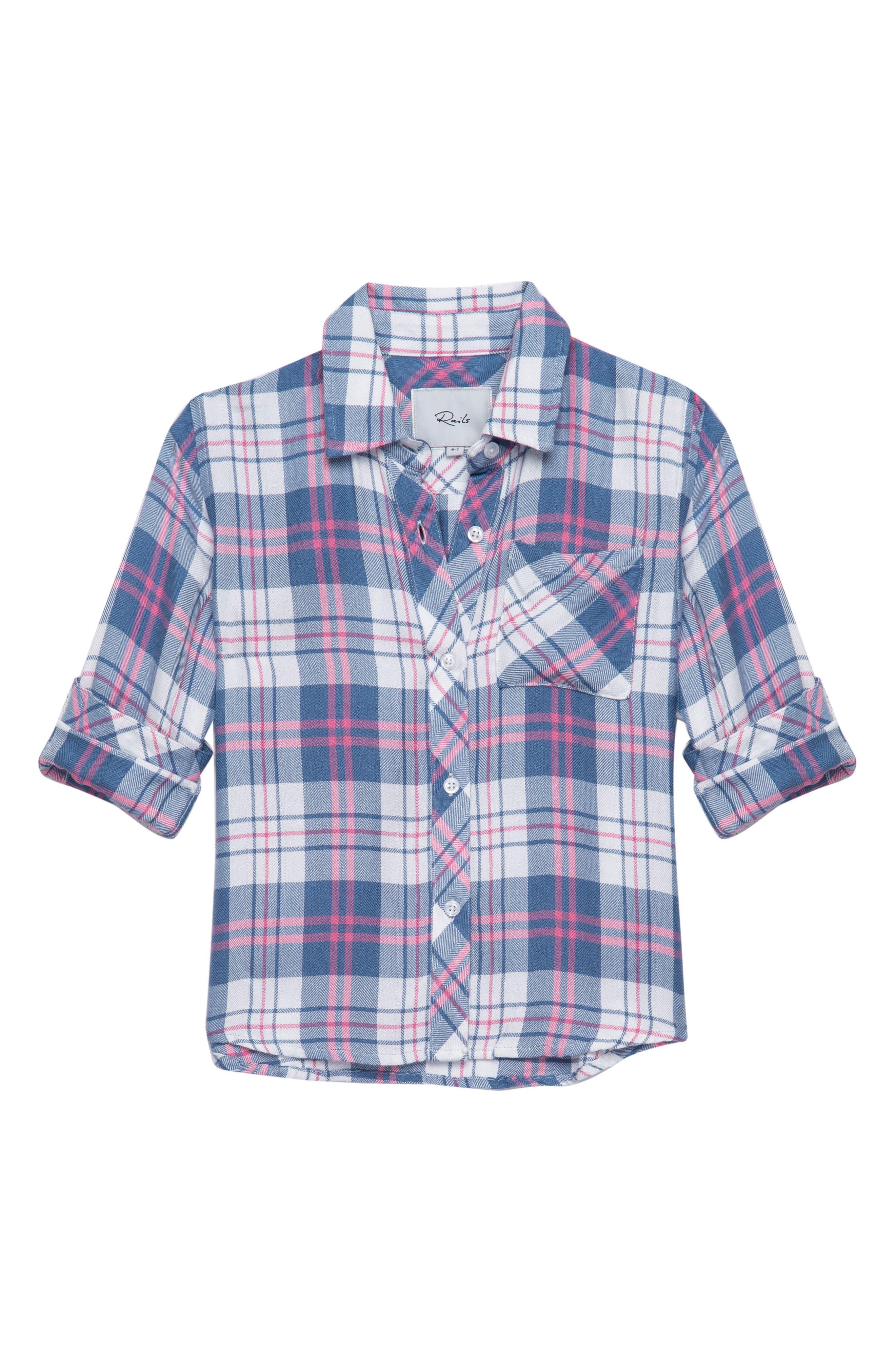 Hudson Plaid Shirt,                         Main,                         color, Watermelon Coast White