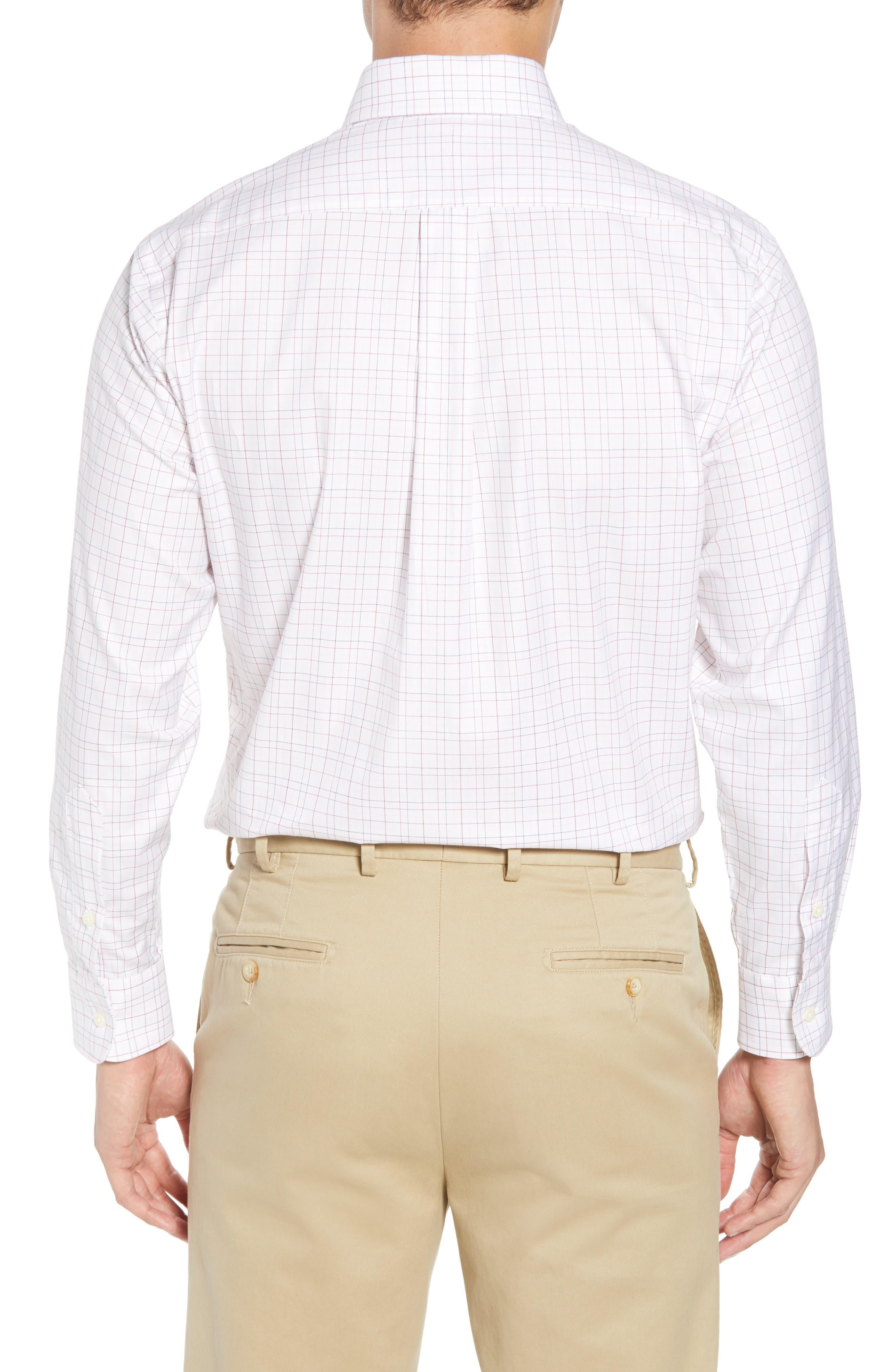 Tailored Fit Plaid Dress Shirt,                             Alternate thumbnail 3, color,                             White/ Burgundy