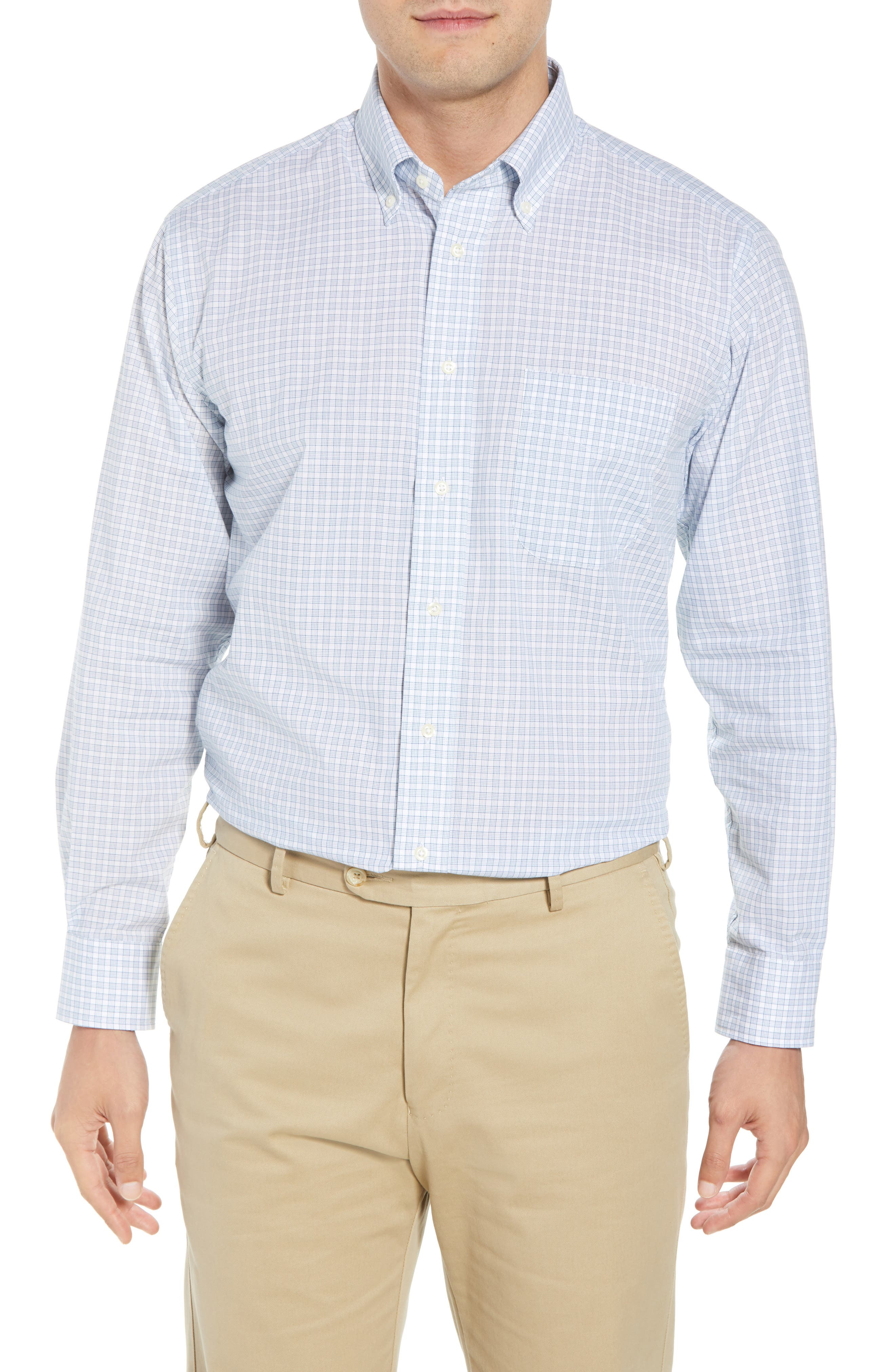 Tailored Fit Check Dress Shirt,                             Main thumbnail 1, color,                             Navy