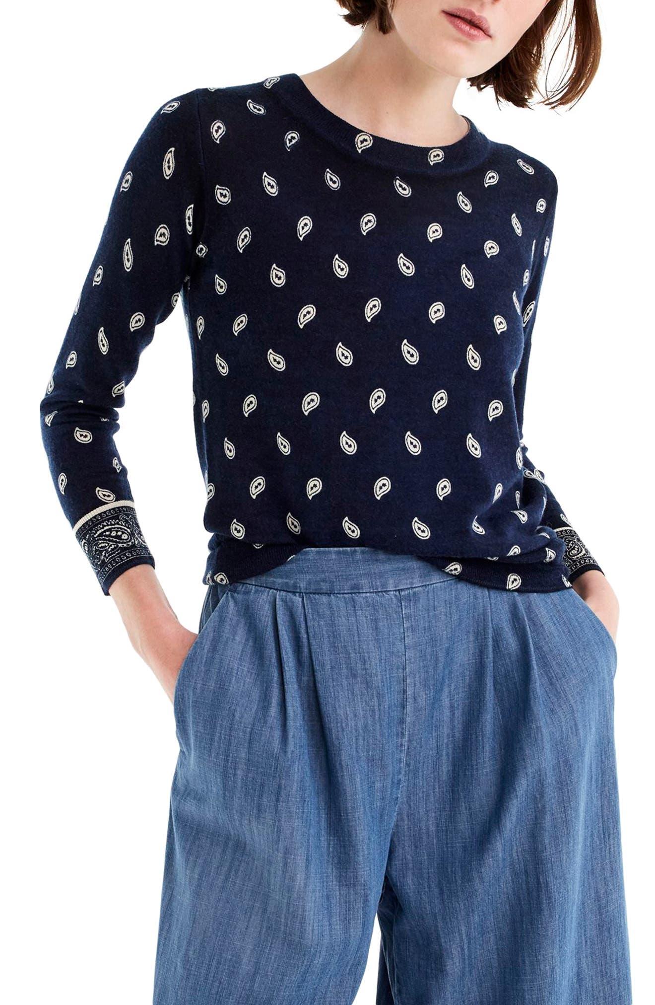 J.Crew Bandana Print Tippi Sweater,                         Main,                         color, Navy Ivory