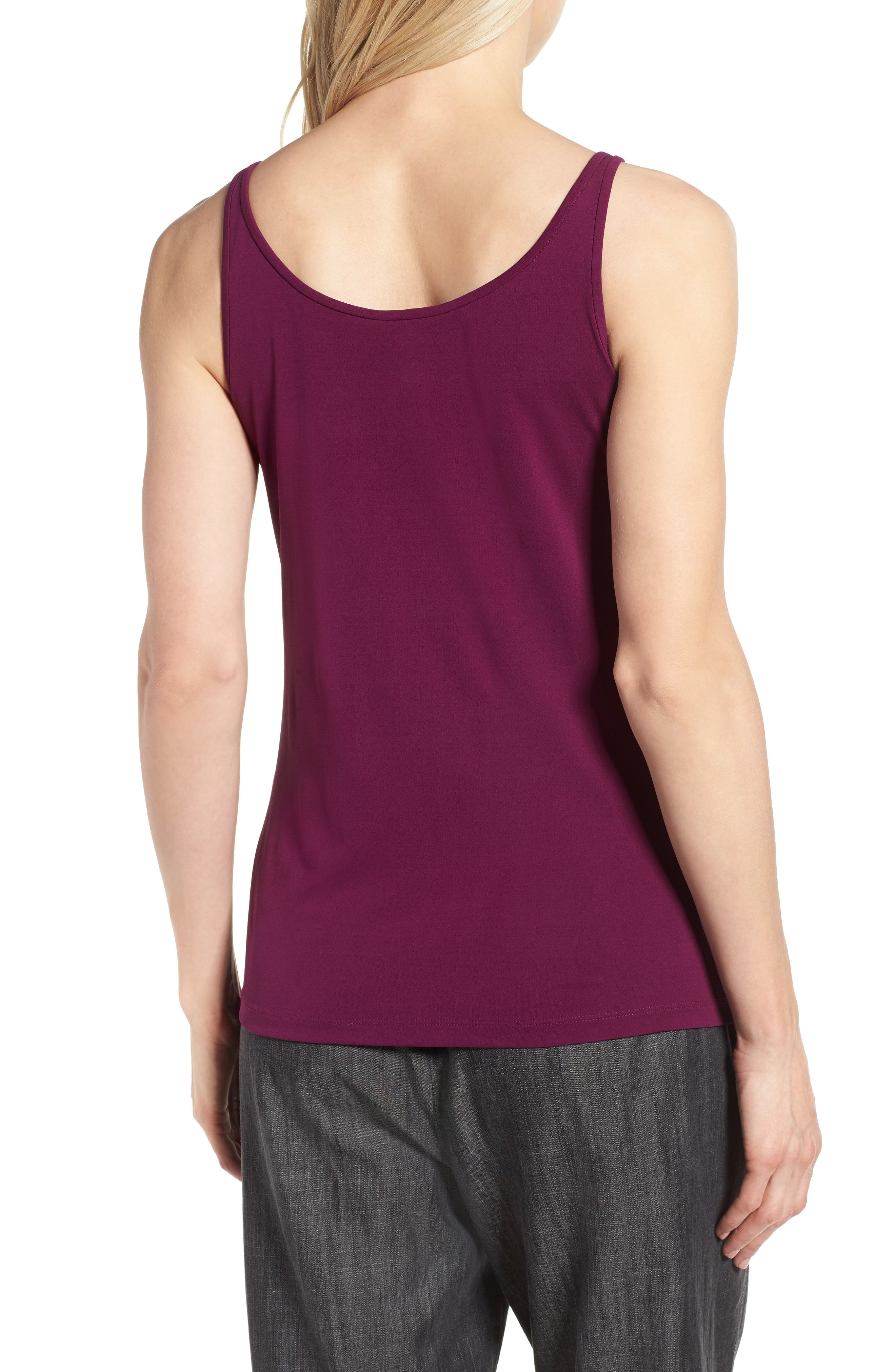 Long Scoop Neck Camisole,                             Alternate thumbnail 2, color,                             Boysenberry