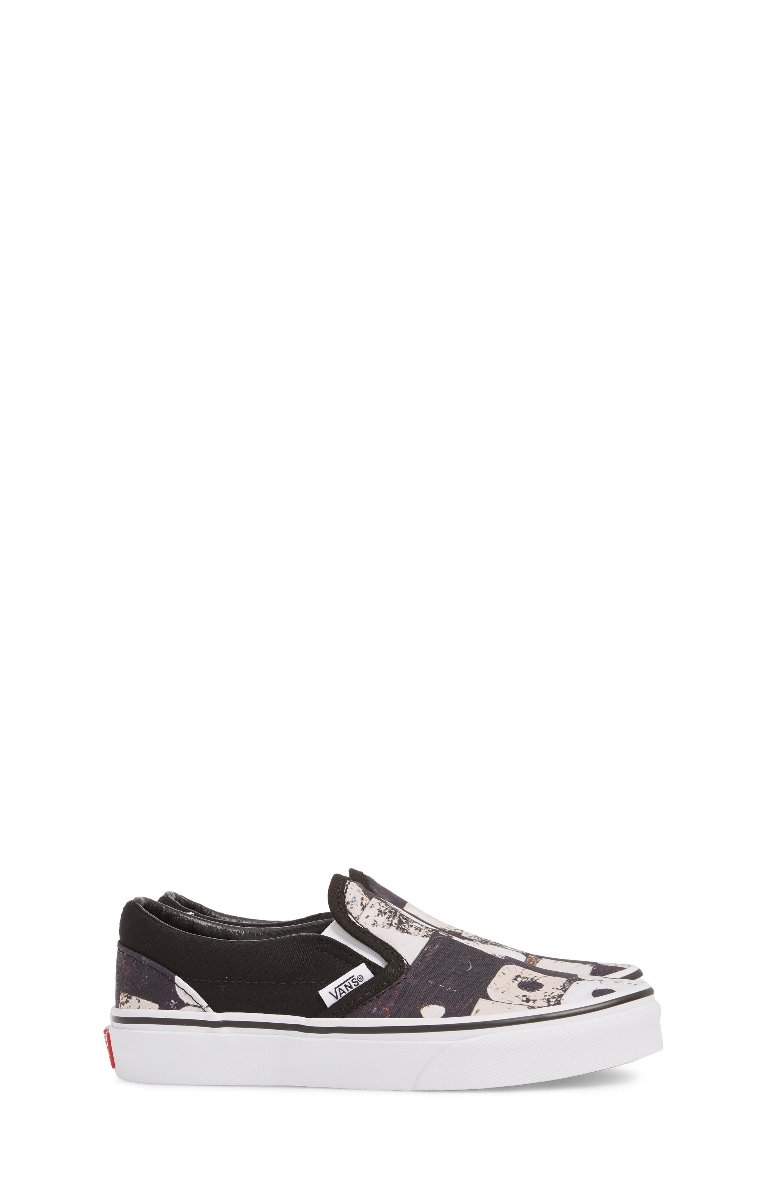 'Classic' Slip-On Sneaker,                             Alternate thumbnail 4, color,                             Black