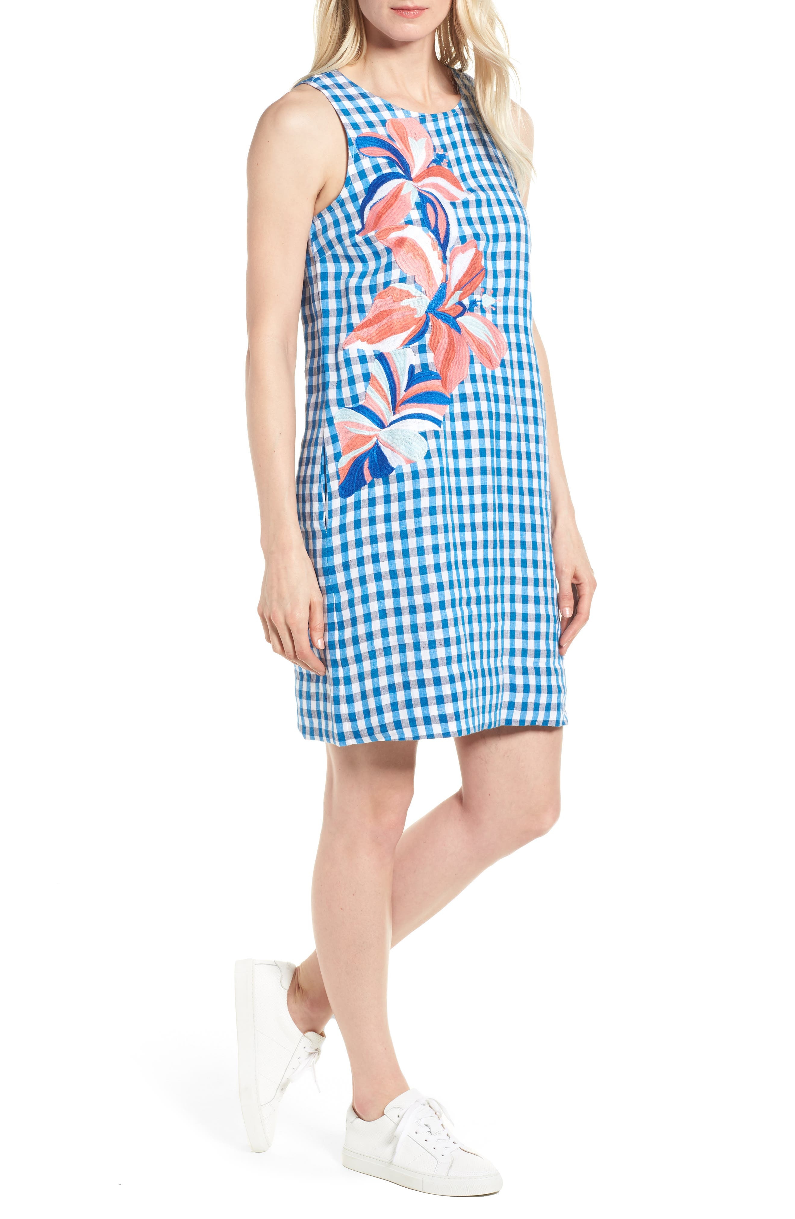 Gingham Shift Dress,                             Main thumbnail 1, color,                             Blue Aster
