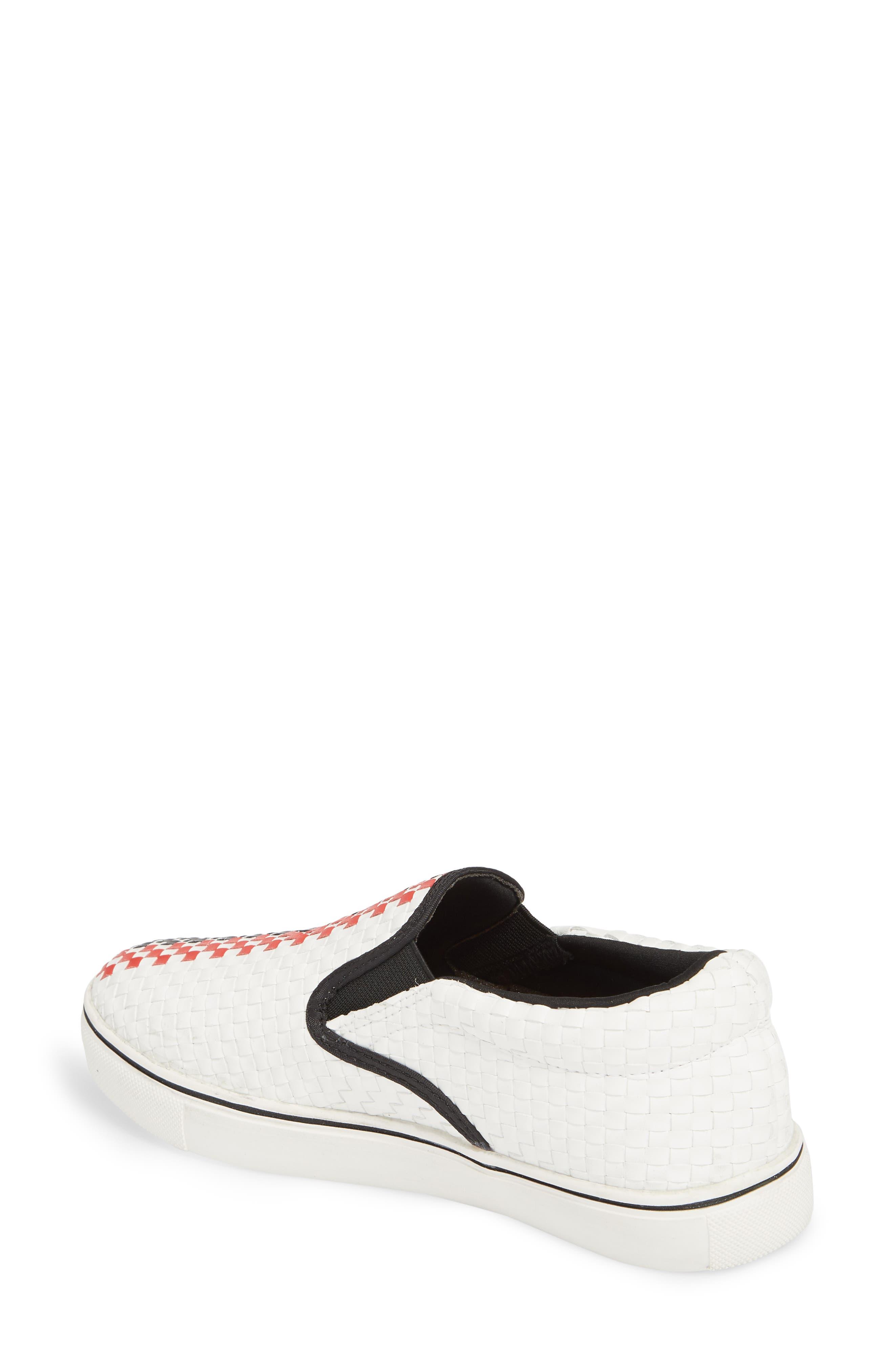 Checkerboard Slip-On Sneaker,                             Alternate thumbnail 2, color,                             White/ Red/ Black