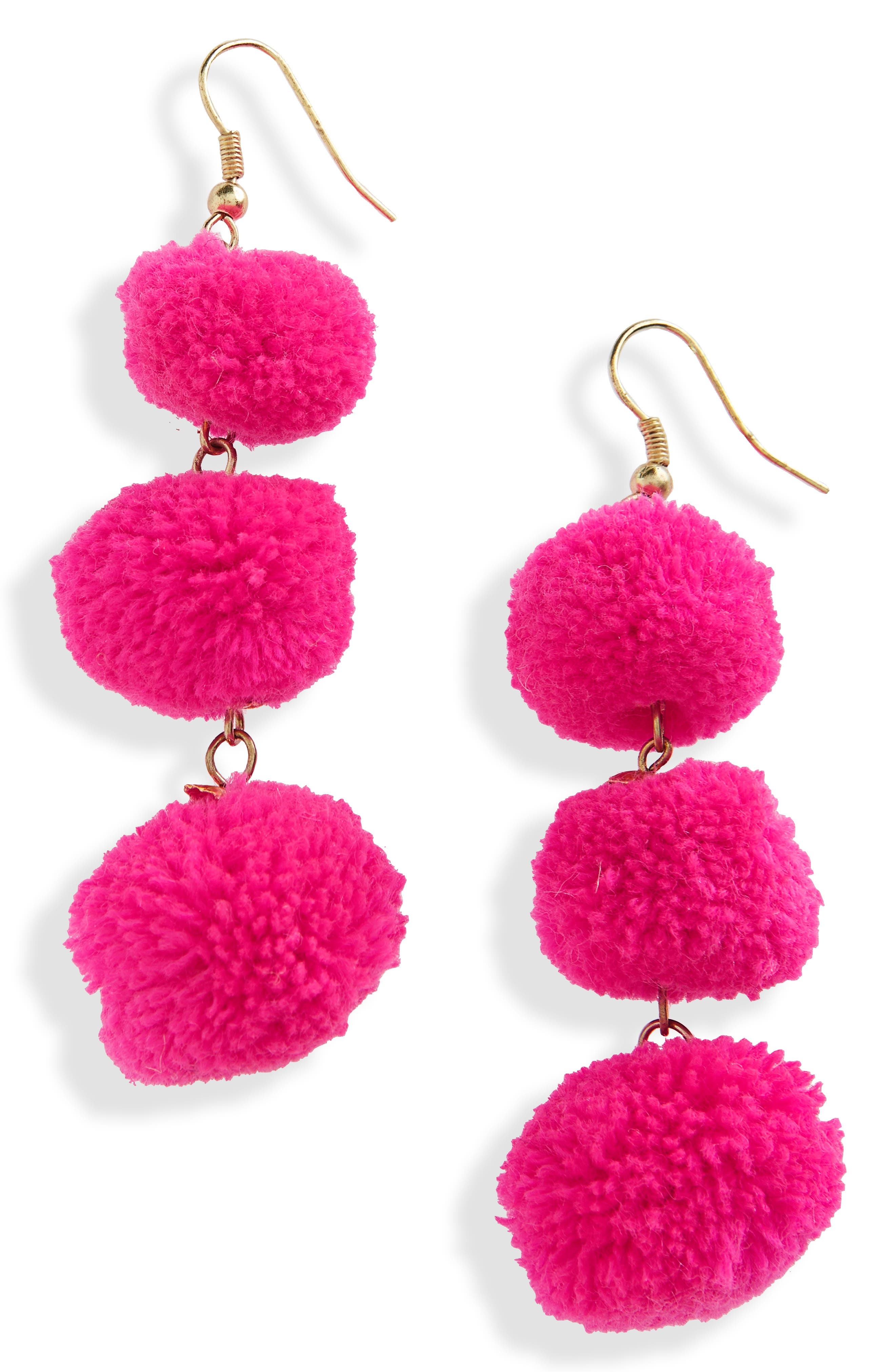 January Pom Earrings,                         Main,                         color, Fuchsia