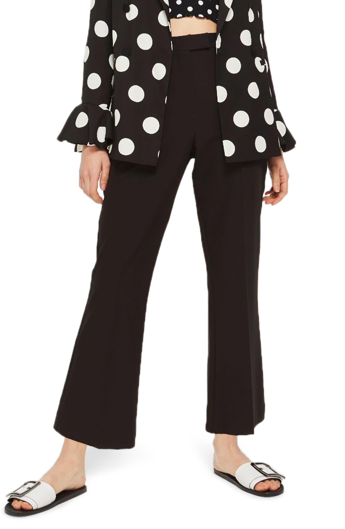 Slim Kick Flare Trousers,                         Main,                         color, Black