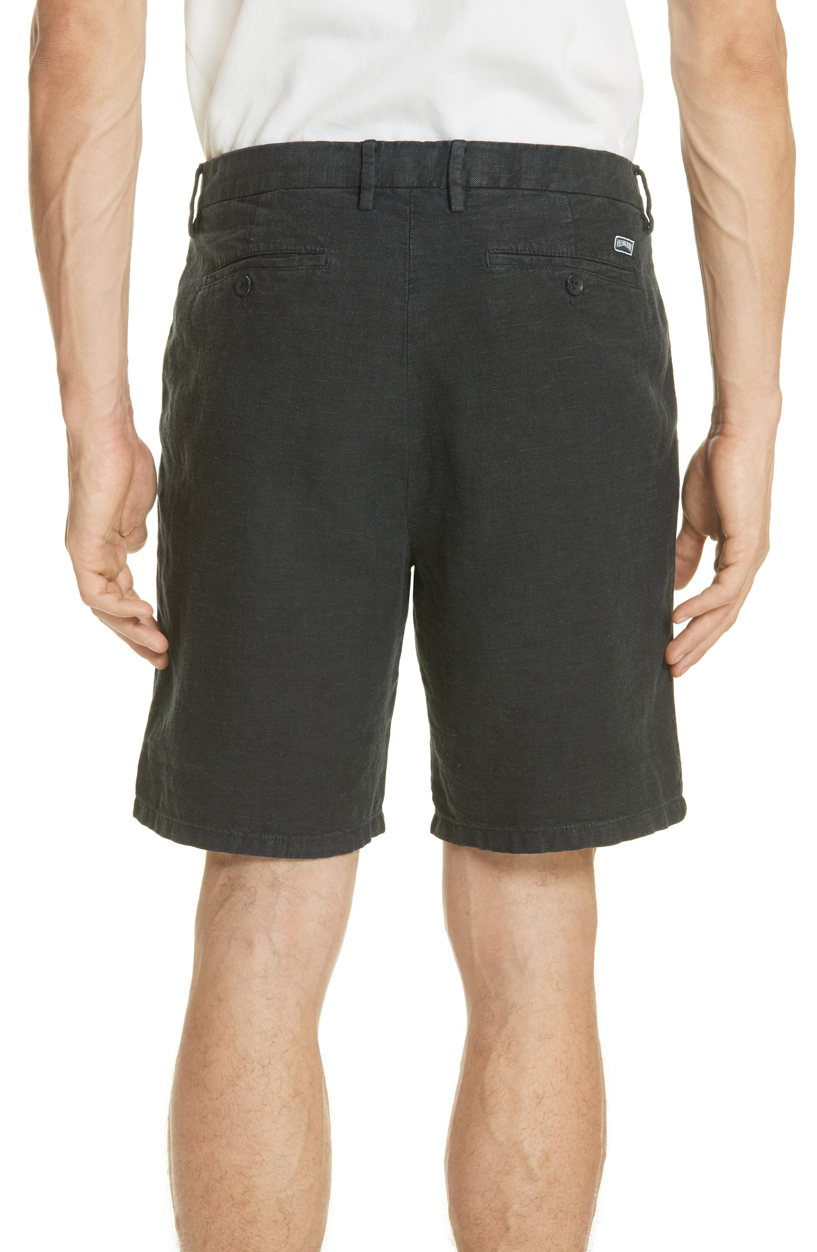 Panama Linen & Cotton Chino Shorts,                             Alternate thumbnail 2, color,                             Squid Ink