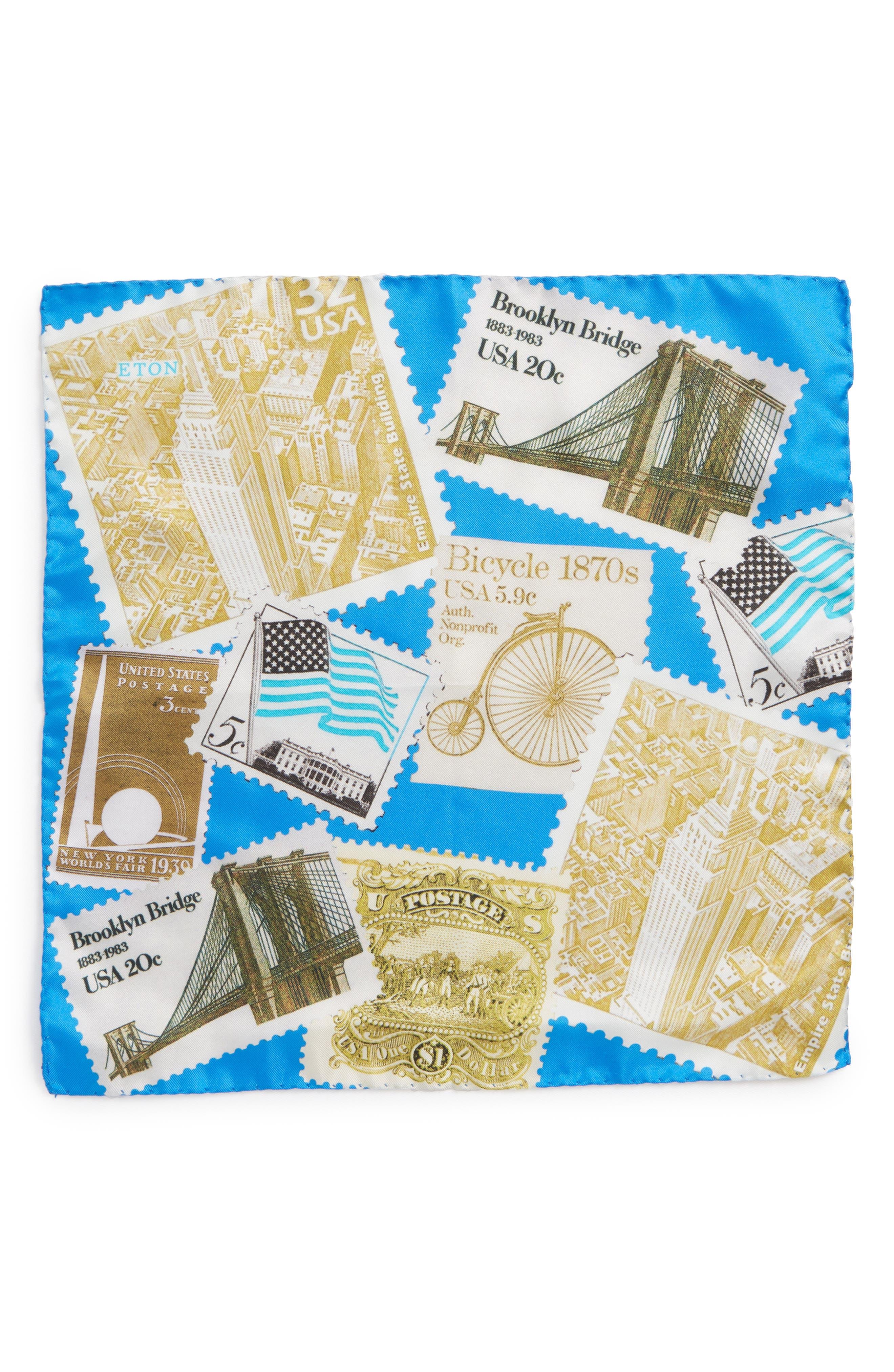 New York Stamp Silk Pocket Square,                             Alternate thumbnail 2, color,                             Blue