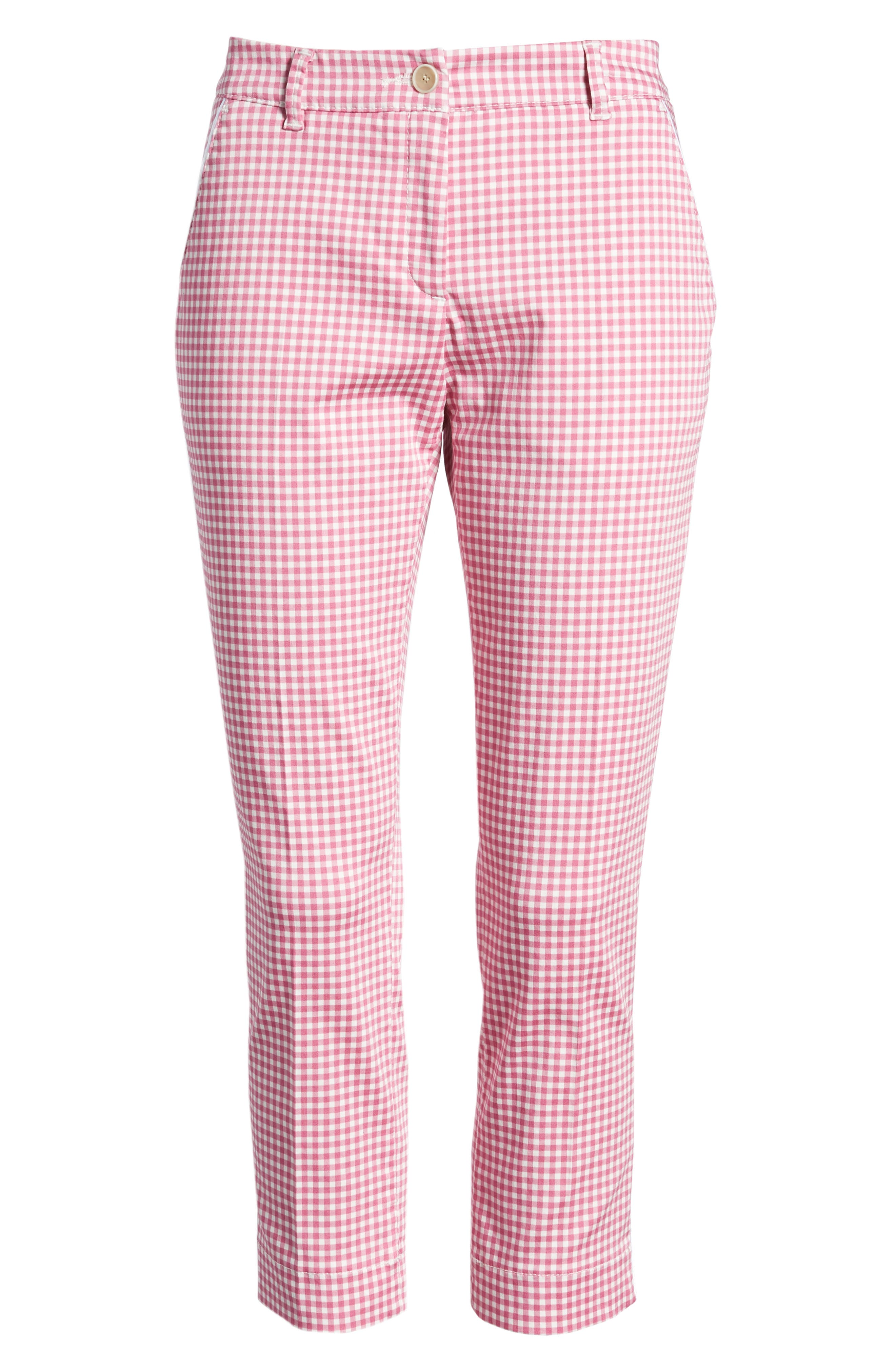 Maron Gingham Stretch Cotton Pants,                             Alternate thumbnail 6, color,                             Pink