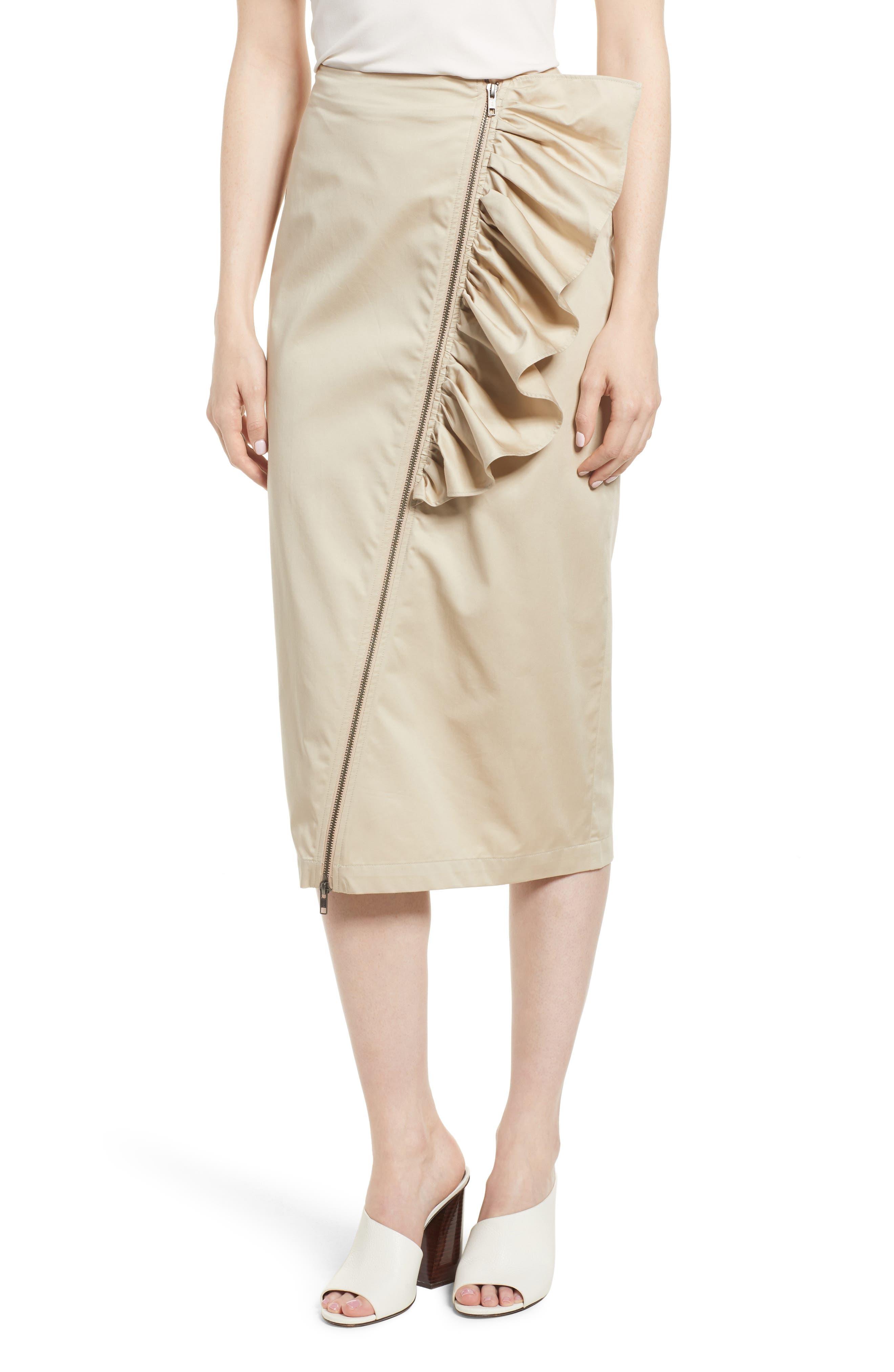 Asymmetrical Zip Ruffle Midi Skirt,                             Main thumbnail 1, color,                             Tan Oxford